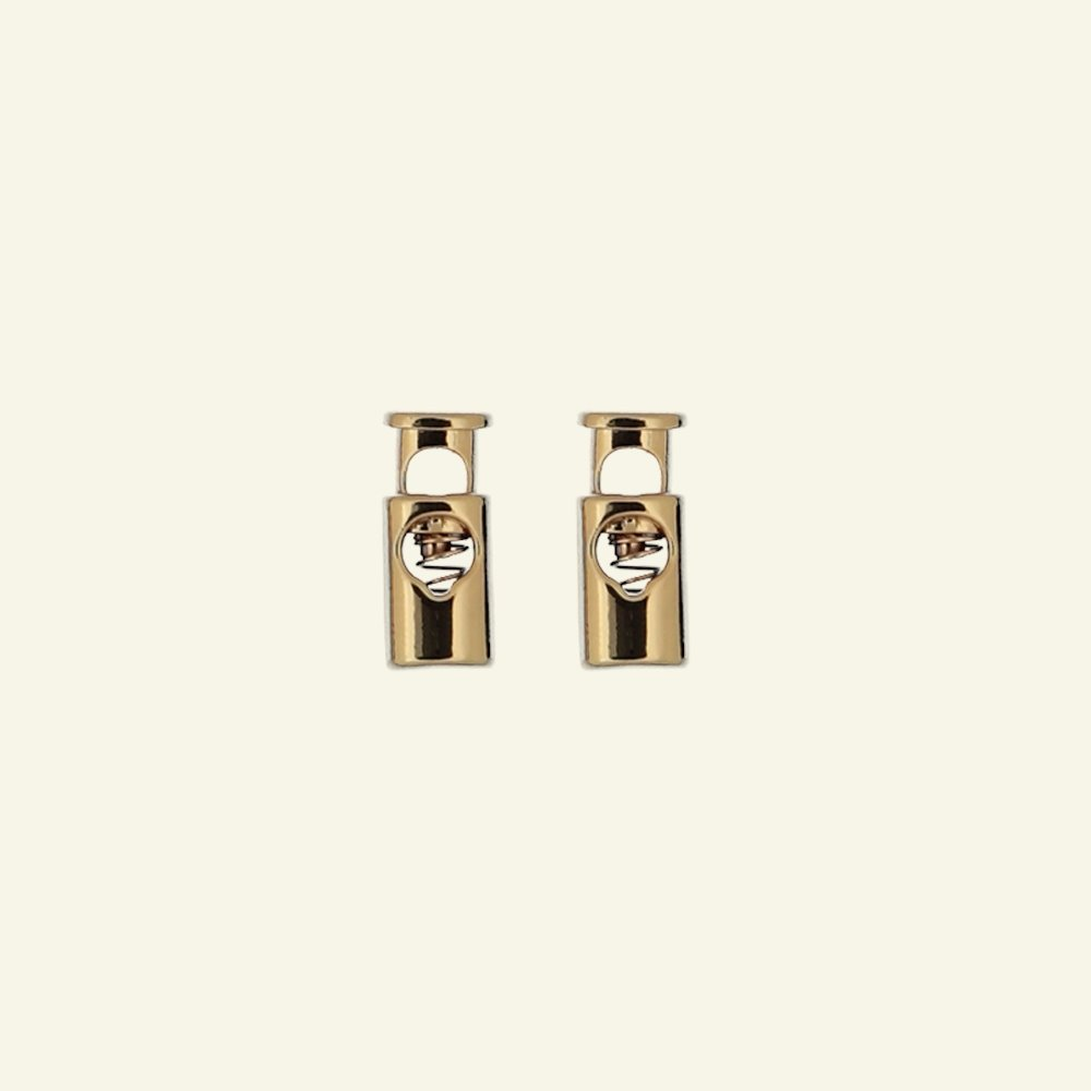 Cord lock dull 23x10mm gold 2pcs 43710_pack
