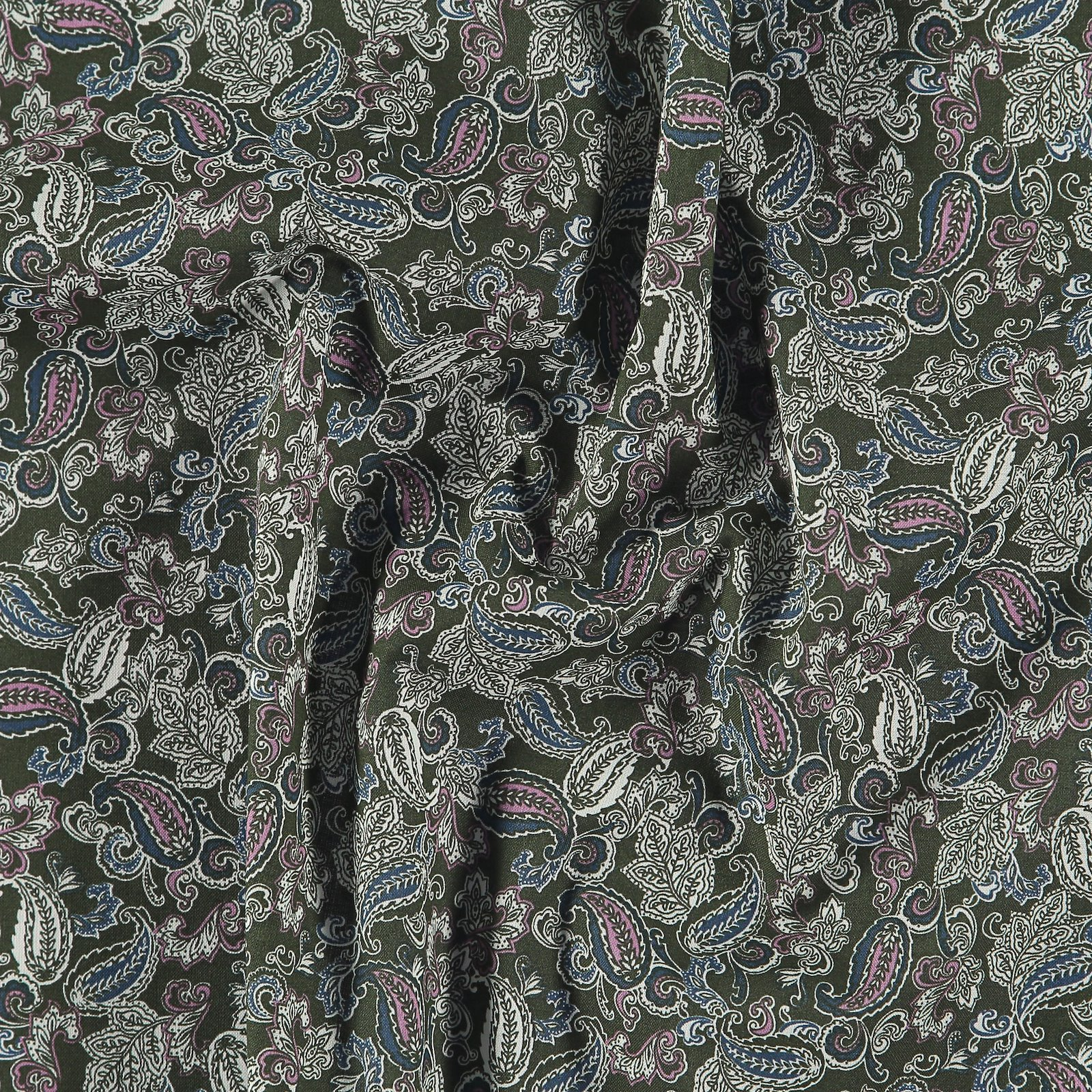 Cotton army green w paisley pattern 852415_pack