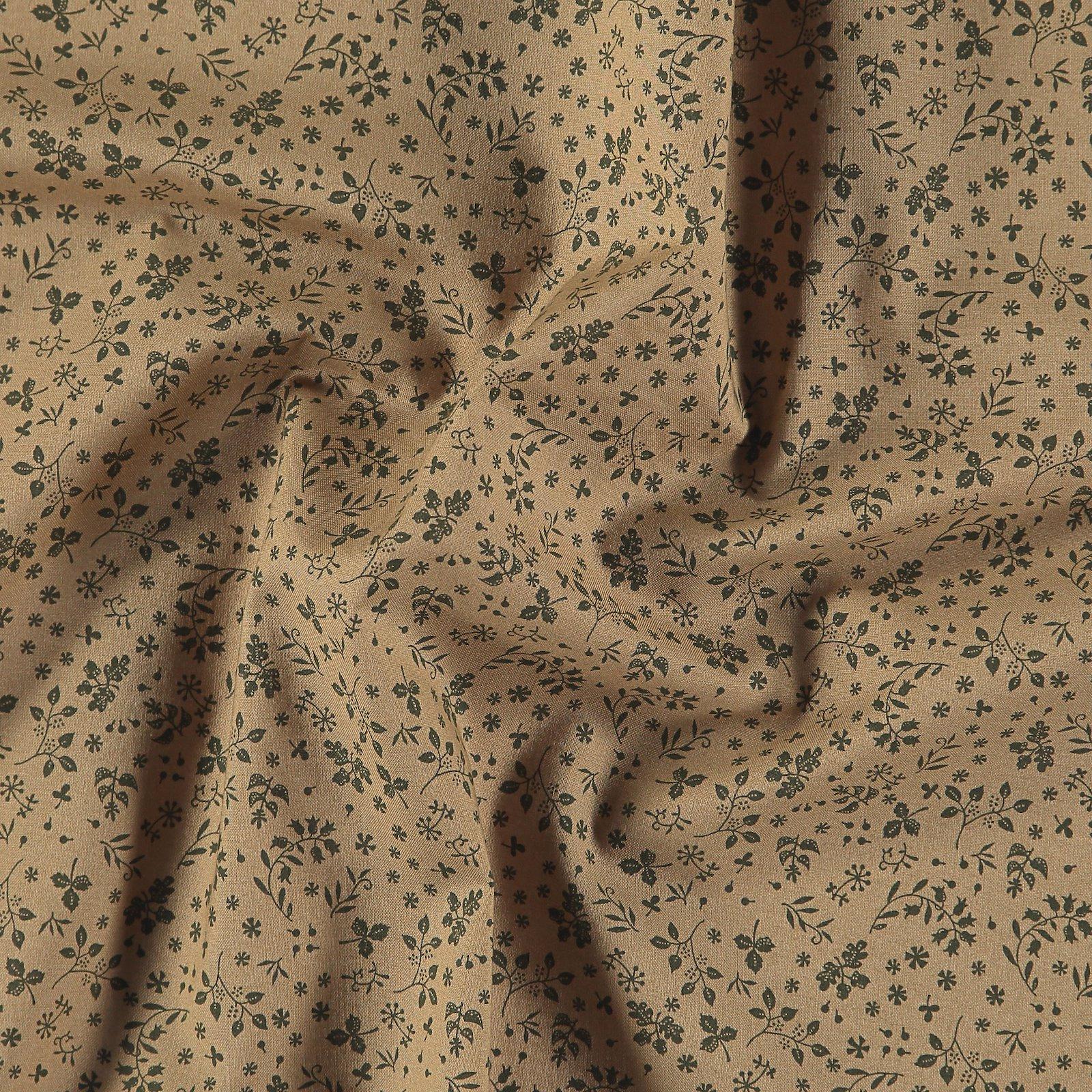 Cotton dark beige w army green leaves 852400_pack