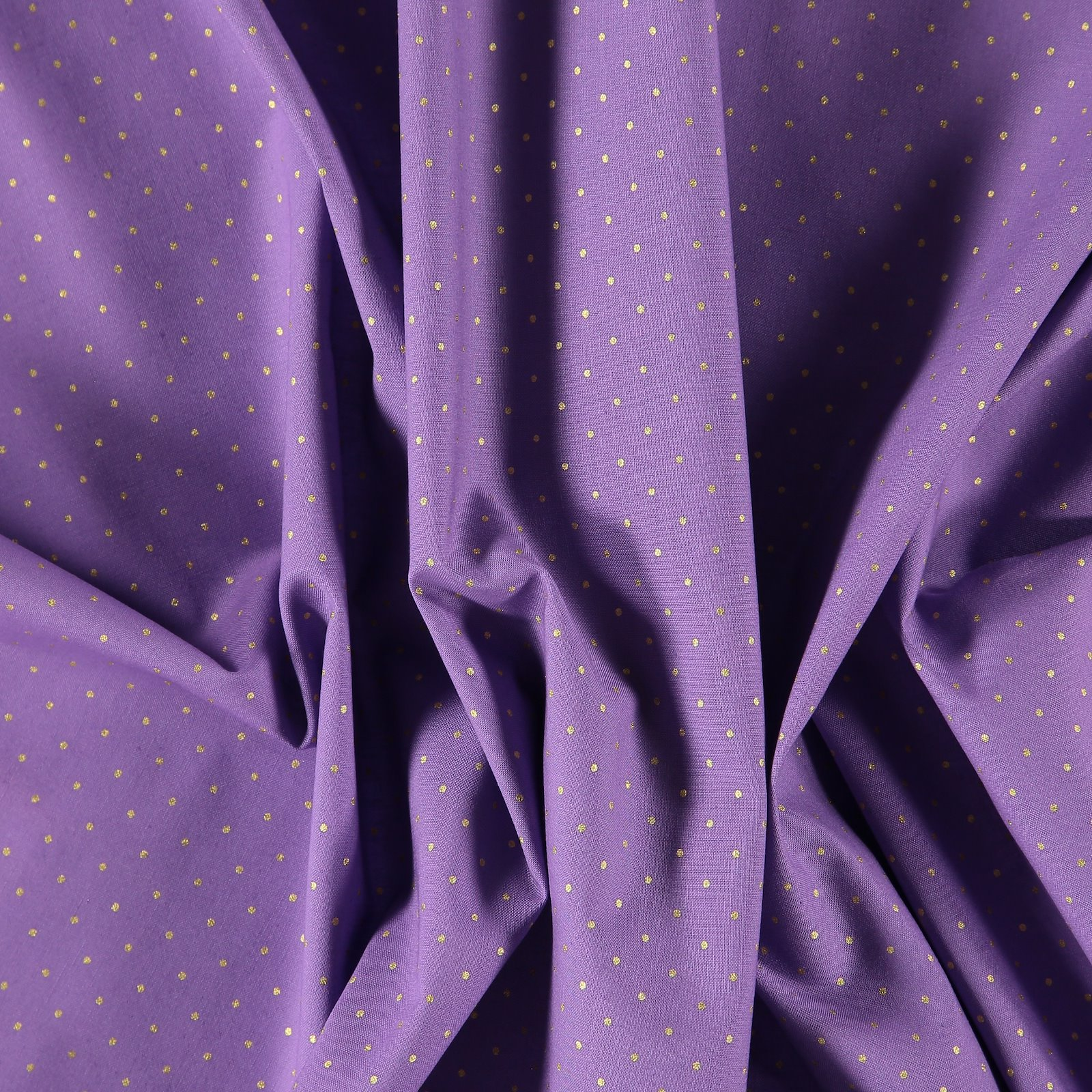 Cotton dark lavendel with gold dots 852352_pack