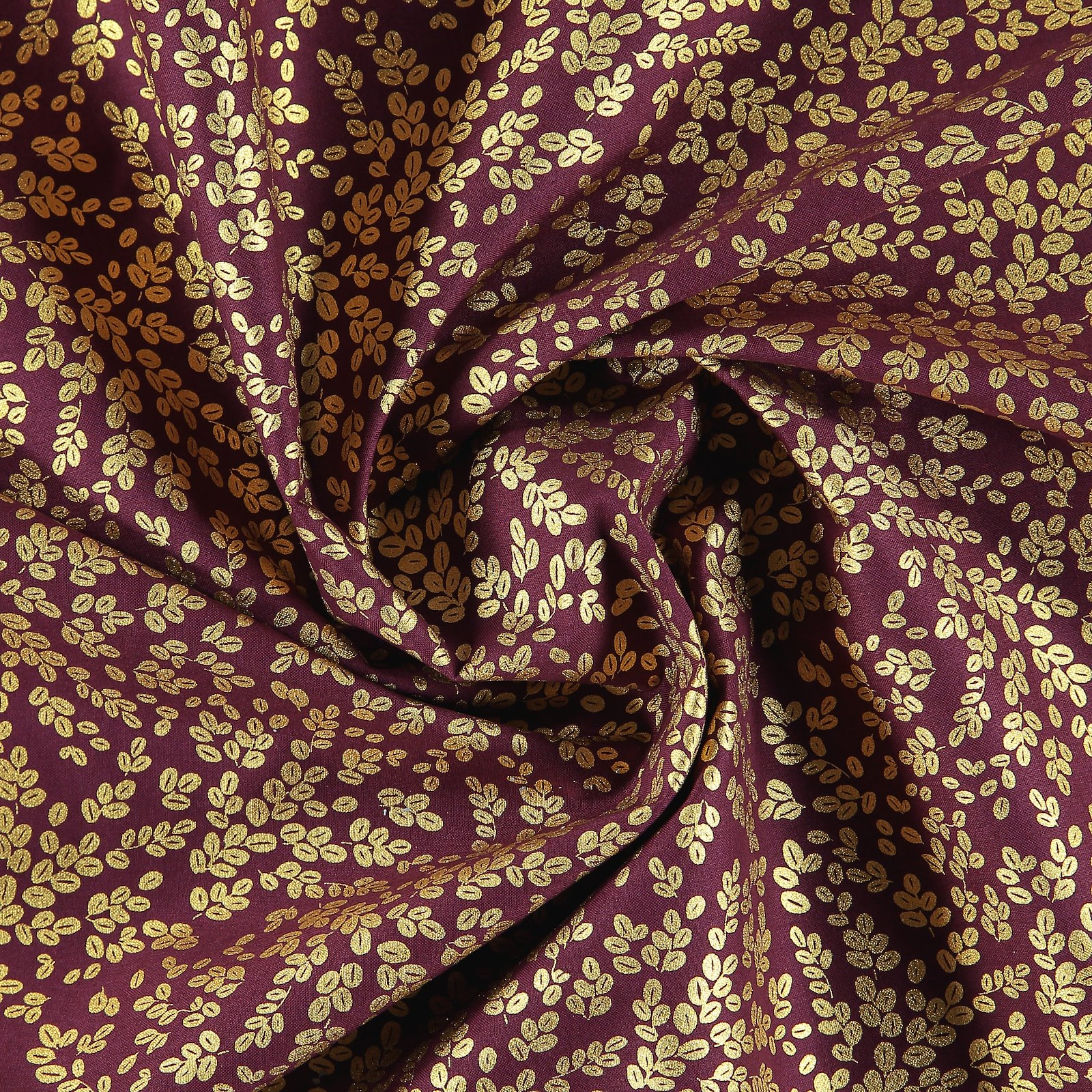 Cotton dark plum with gold leaves 852343_pack