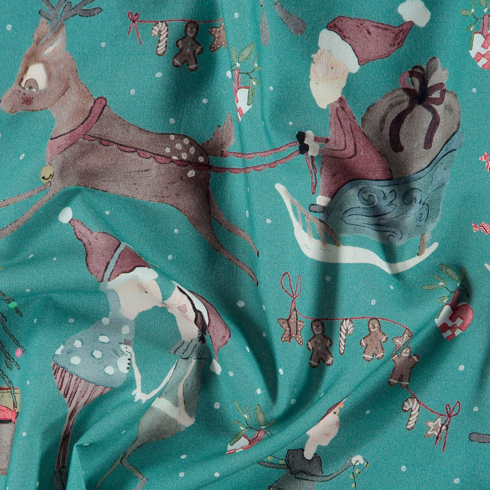 Cotton dusty aqua with elves 780575_pack