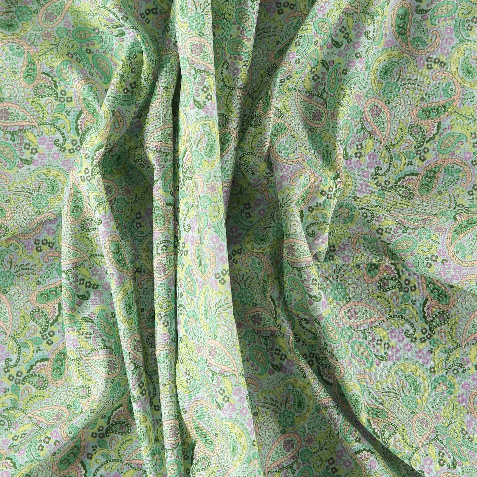 Cotton light blue and mint paisley 852367_pack