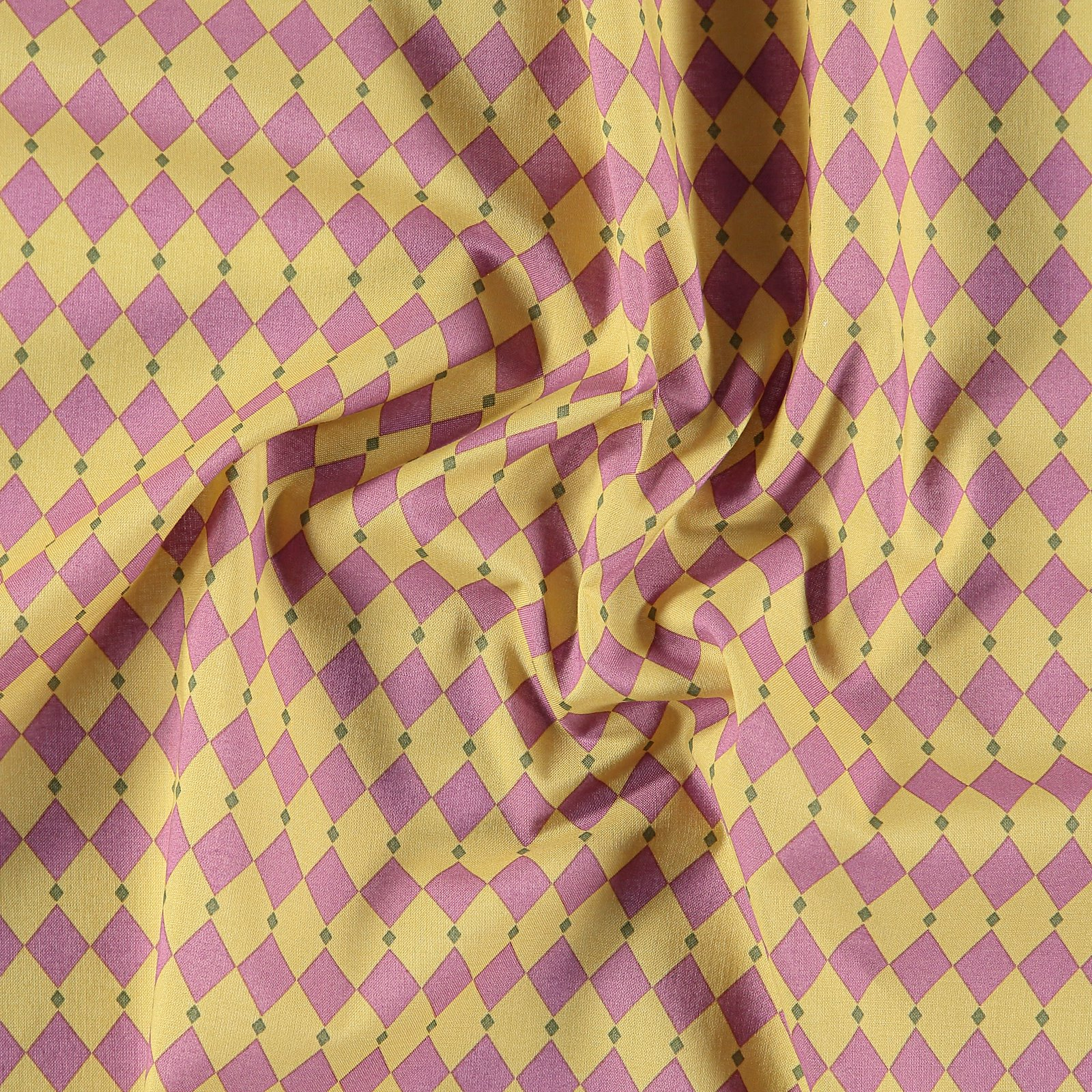 Cotton olive yellow and violet diamonds 852411_pack