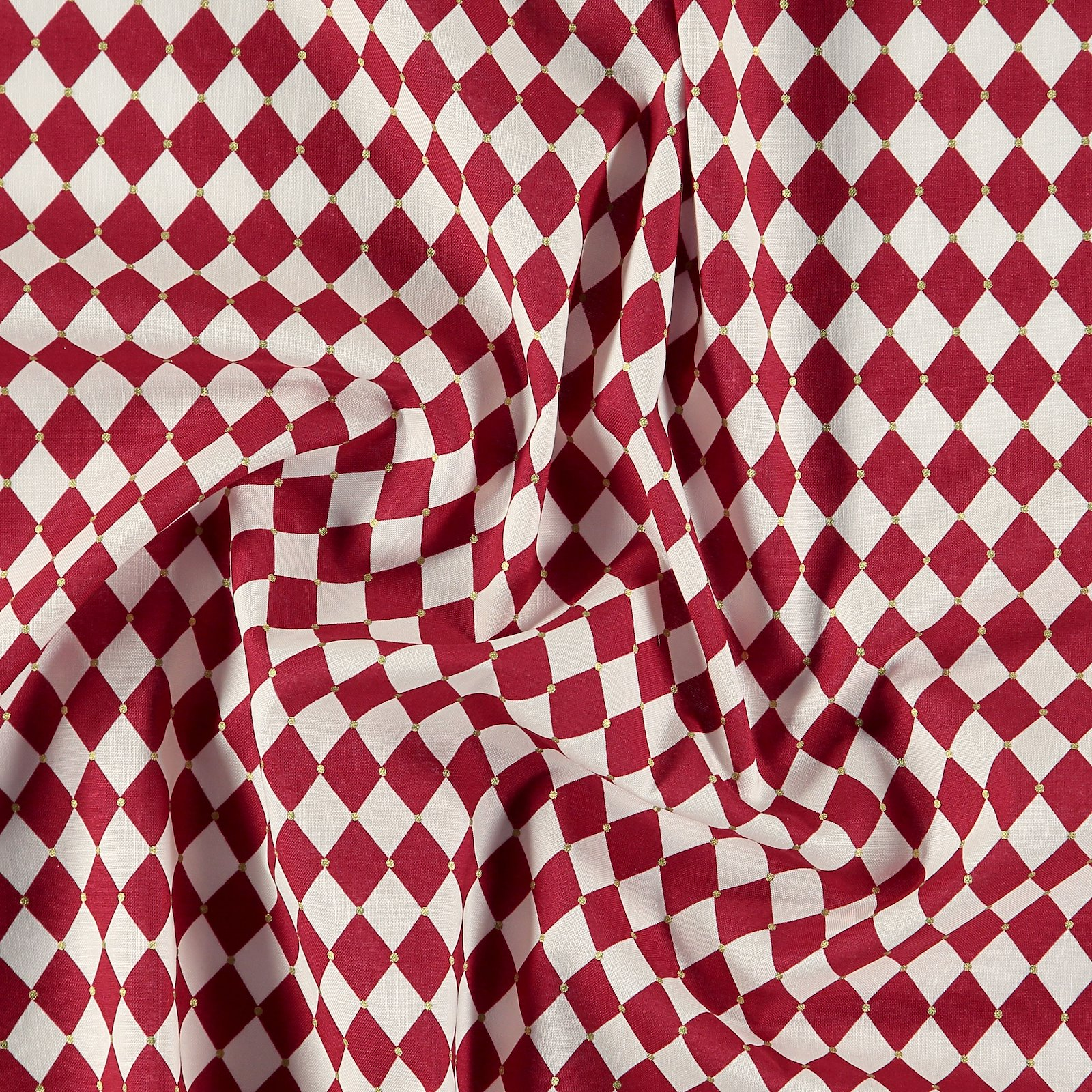 Cotton red and white harlequin checks 852395_pack