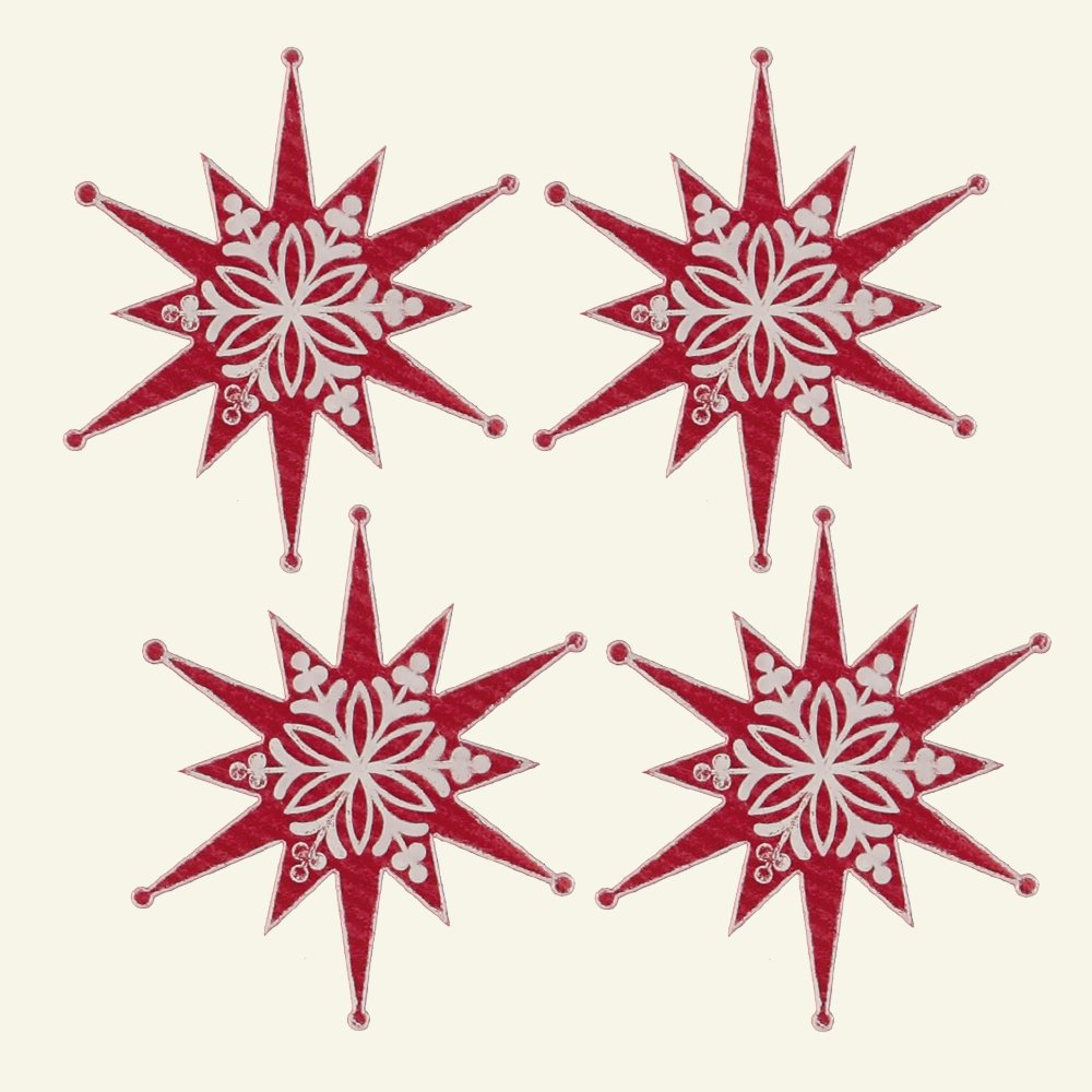 Deco star 55x60mm red/white 4pcs 20974_pack