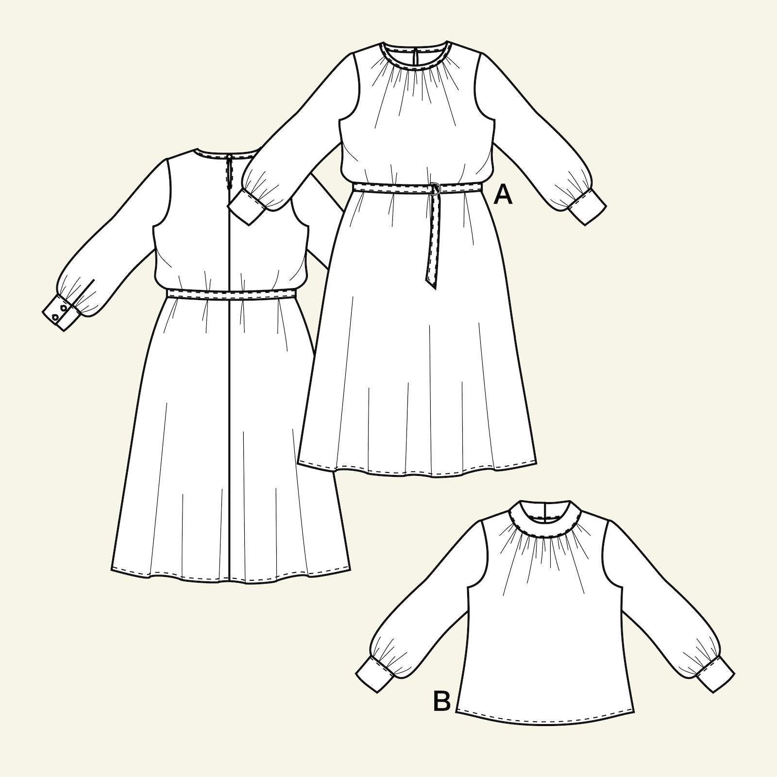 Dress and blouse with balloon slee, 36/8 p23163_pack
