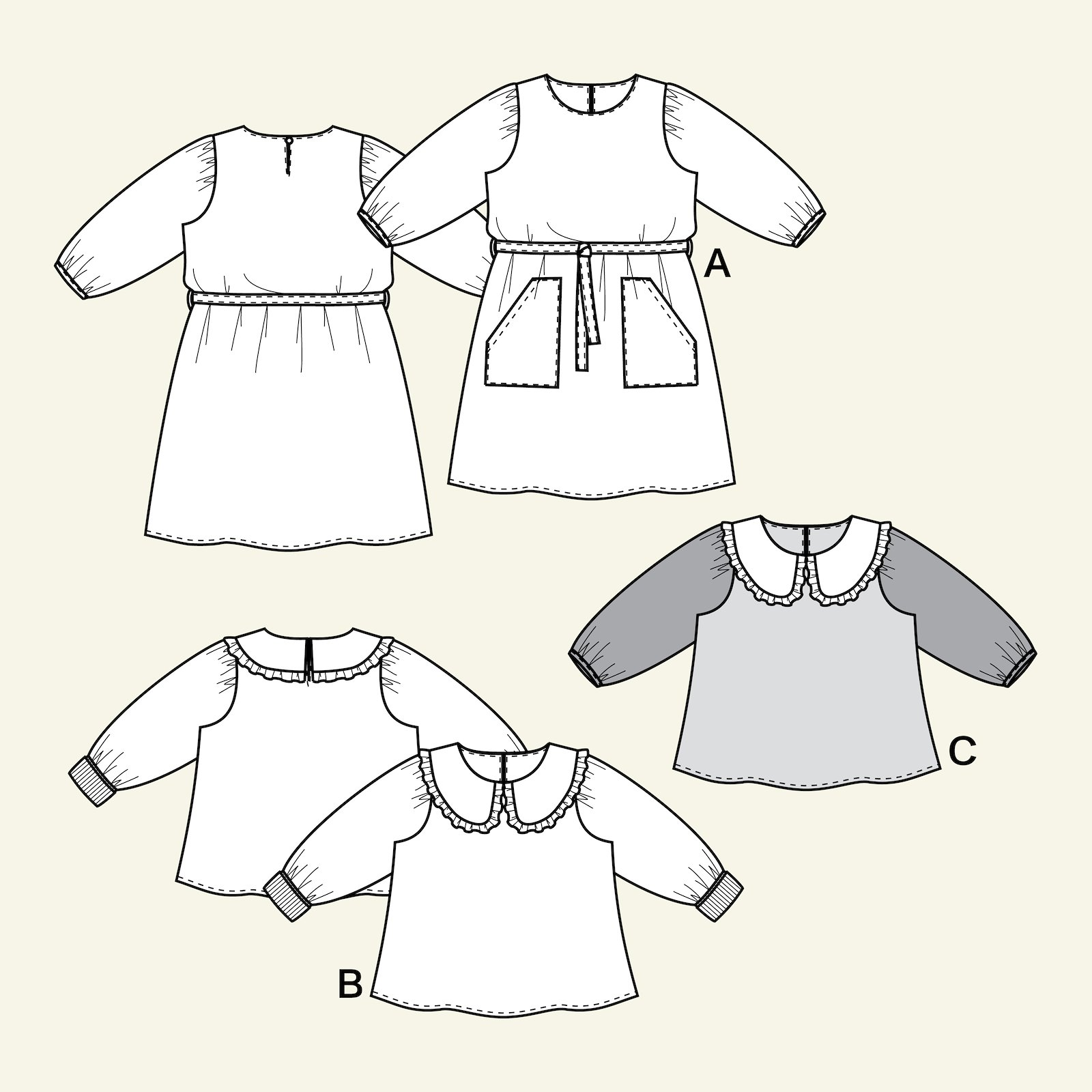 Dress and Blouse with puff sleev, 122/7y p63065_pack