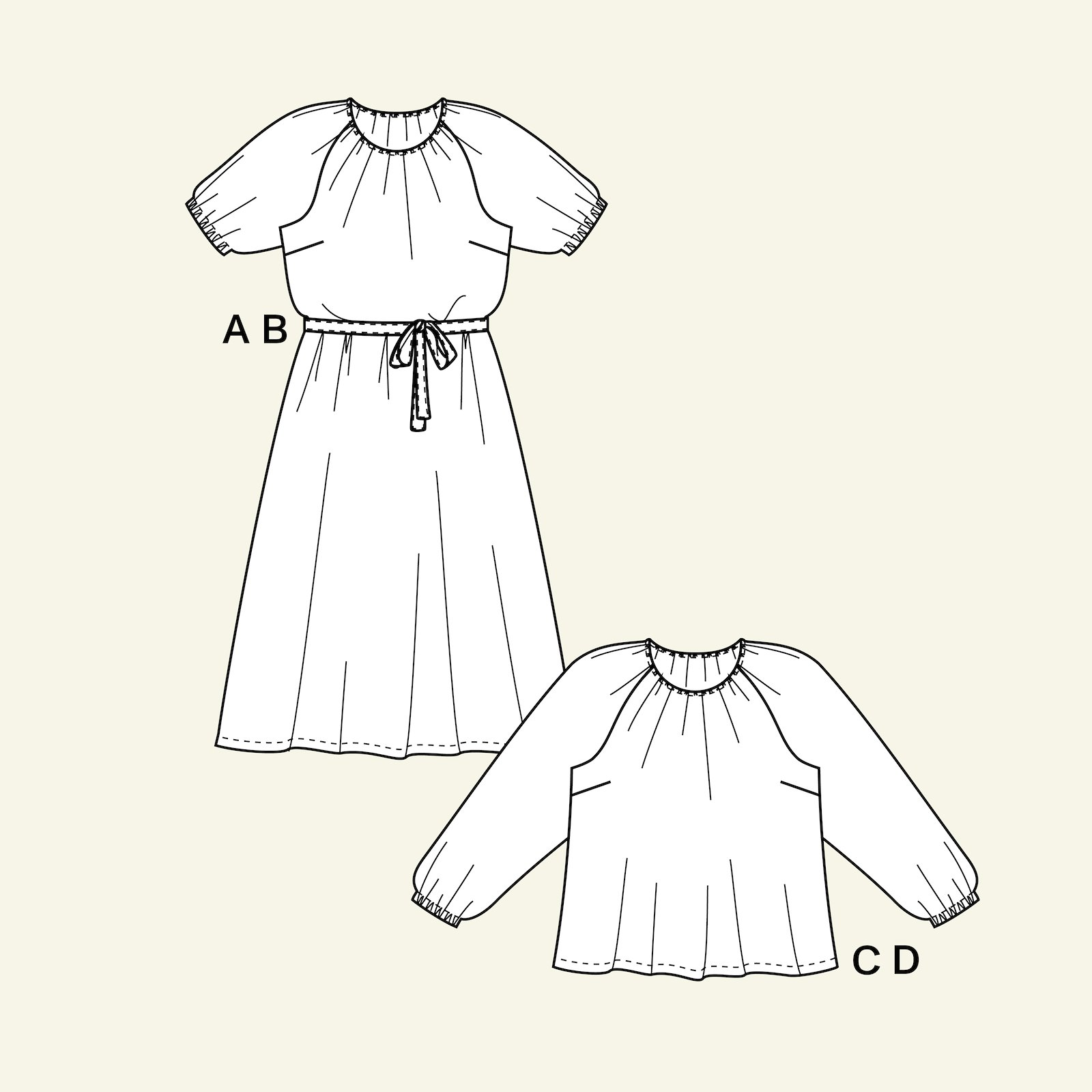 Dress with belt and blouse, 44/16 p23167_pack