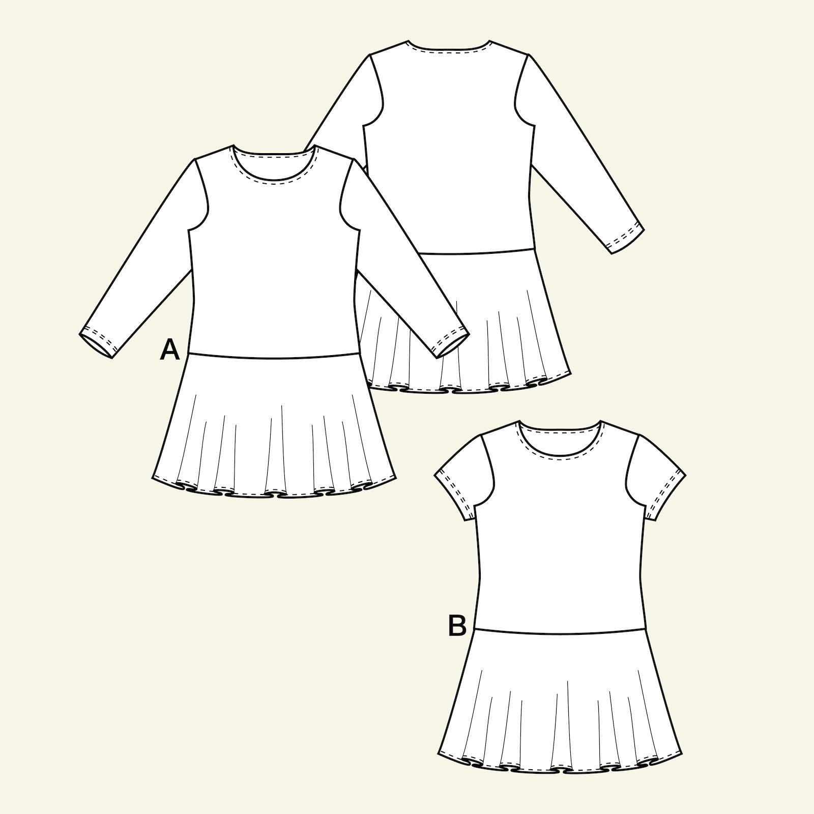 Dress with flared skirt, 104/4y p63058_pack