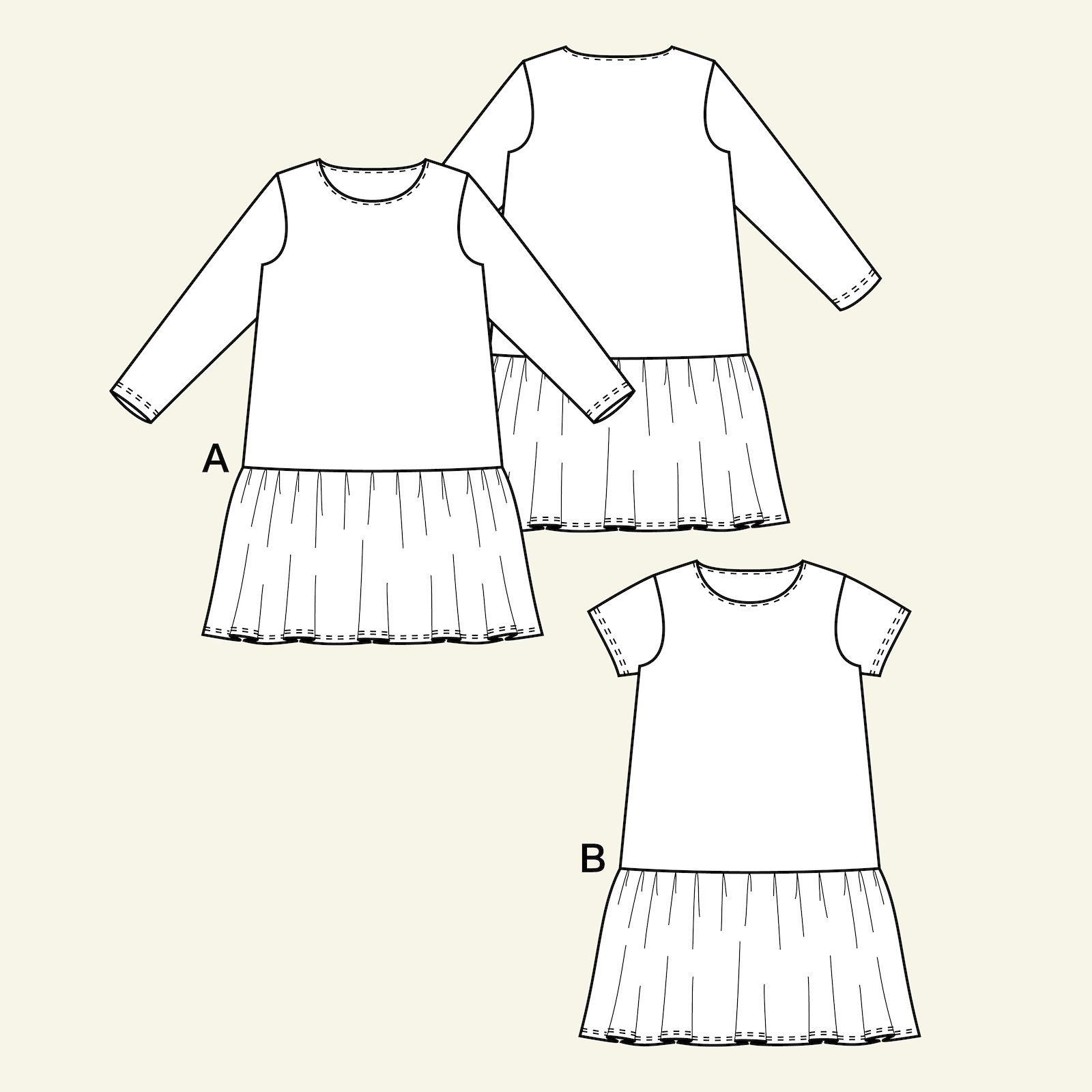 Dress with flounce, 104/4y p63060_pack