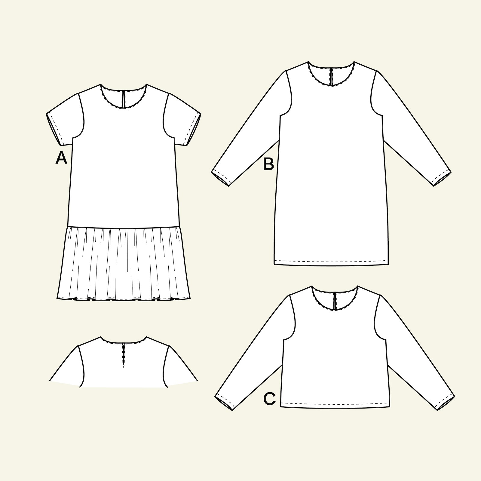 Dress with flounce and blouse, 44/16 p23145_pack