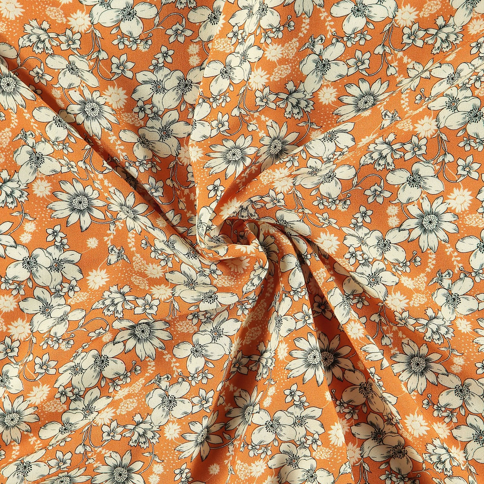 Ecovero woven viscose golden w flowers 710691_pack