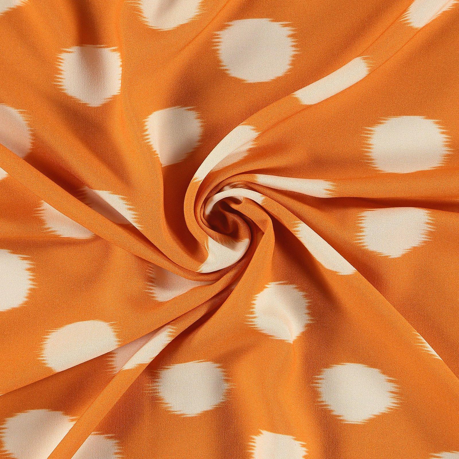 Ecovero woven viscose orange w big dots 710690_pack