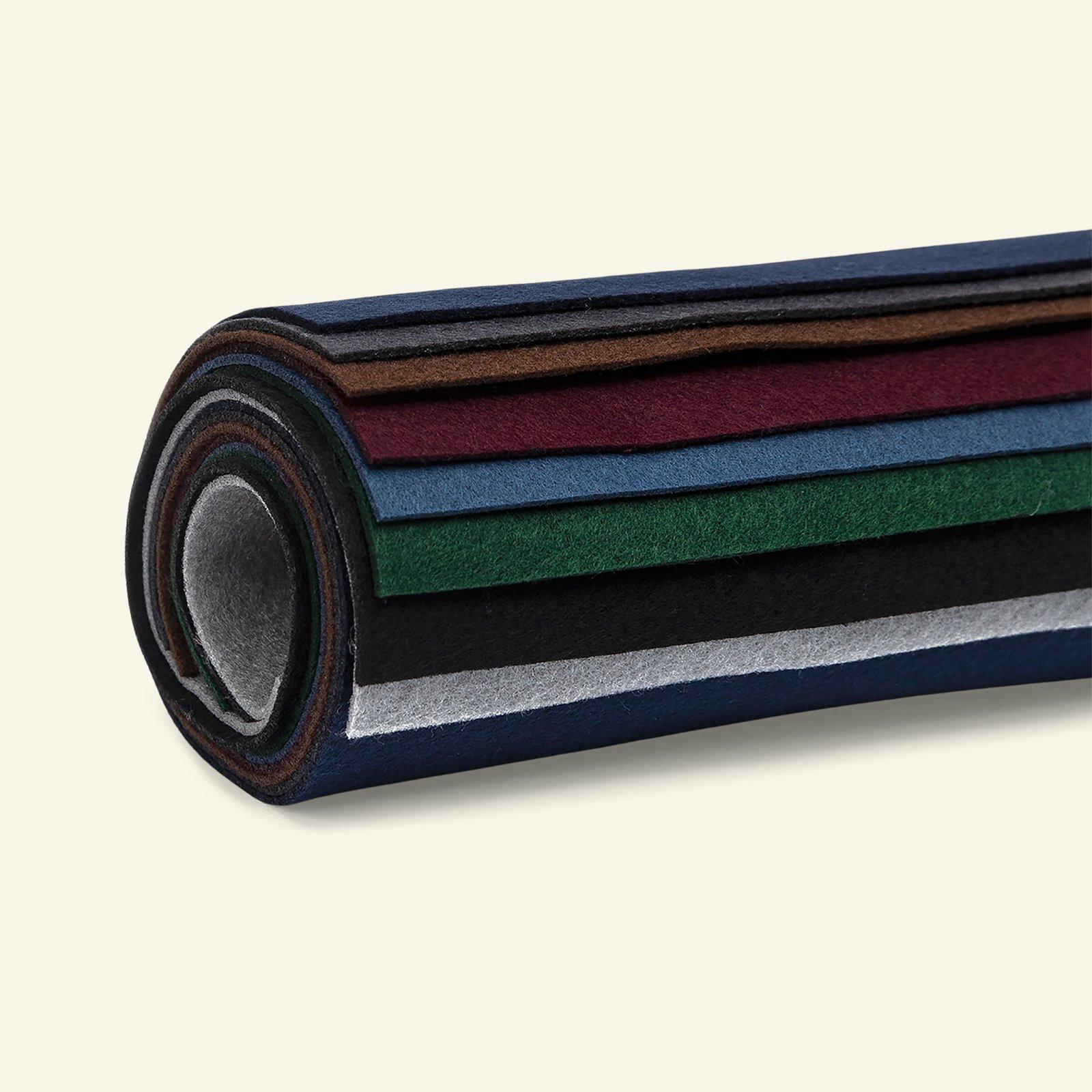 Felt 1,3mm 19,5x30cm dark colours 8 pcs 93704_pack