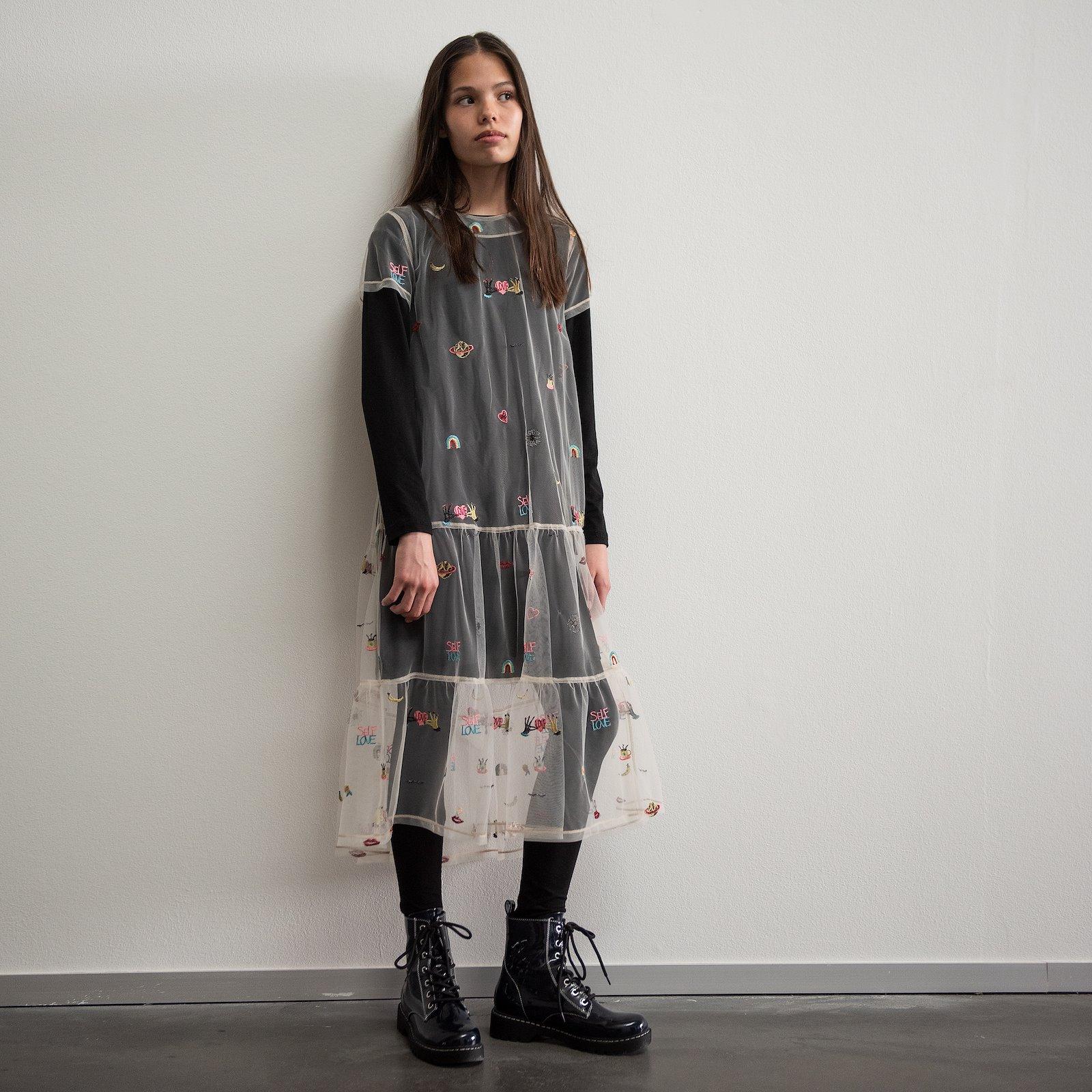 Flounce dress, 134/9y p63062_640280_p63064_270265_p60032_270265_sskit