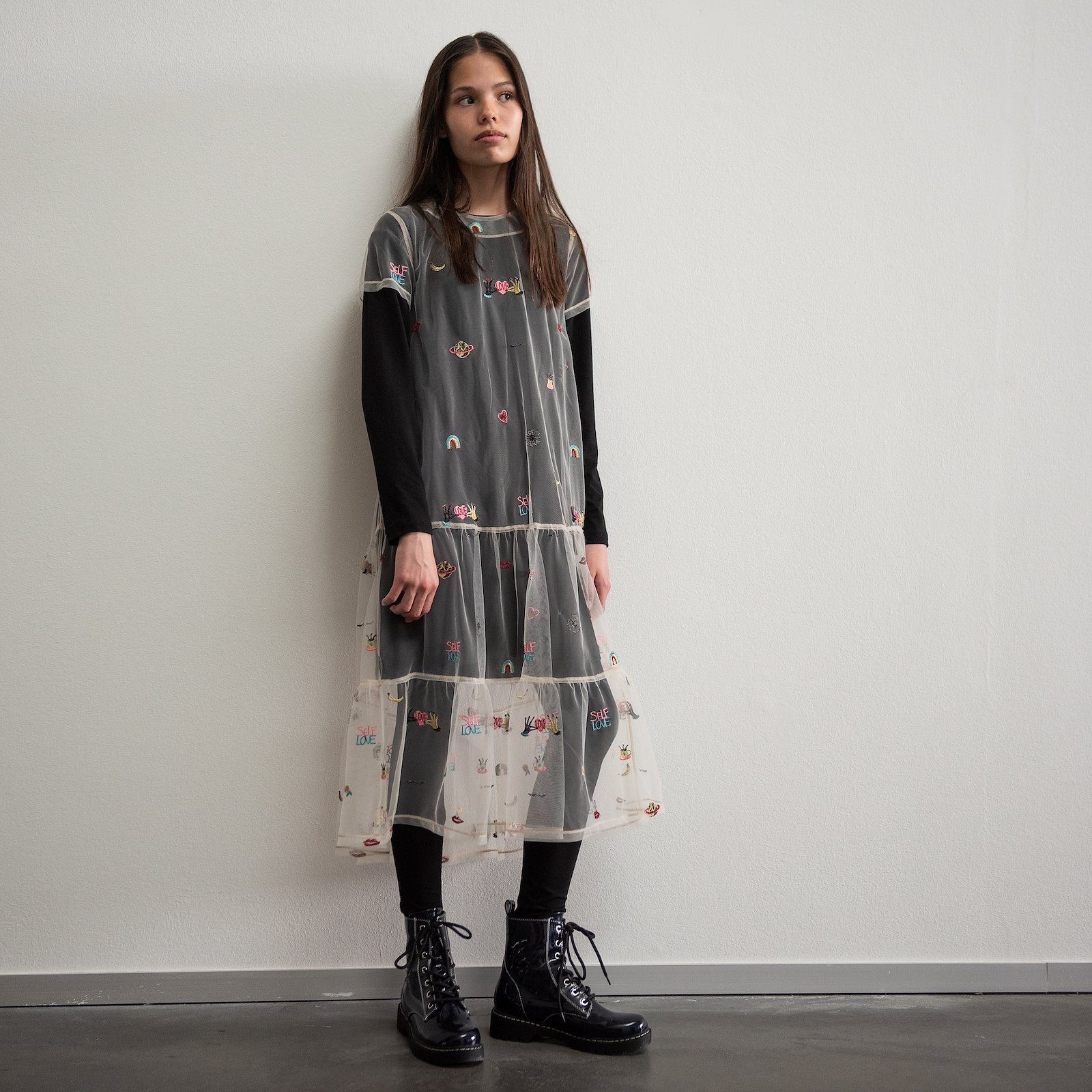 Flounce dress, 152/12y p63062_640280_p63064_270265_p60032_270265_sskit