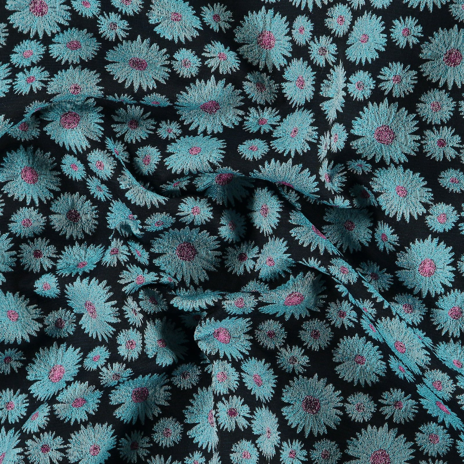 Gewebter Jacquard Pink/Blau Blumen 400326_pack