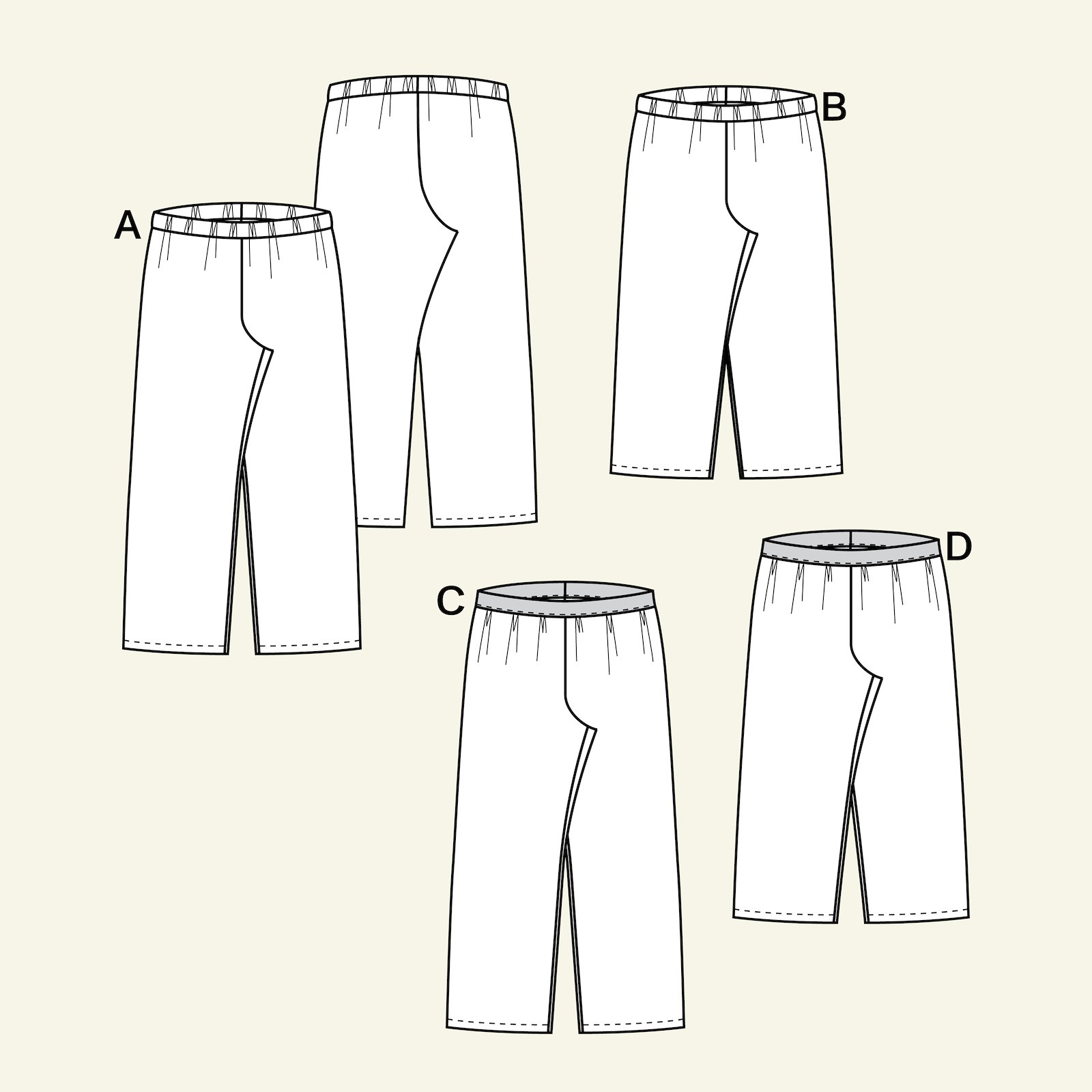 High waist and wide lege trouser, 122/7y p60034_pack