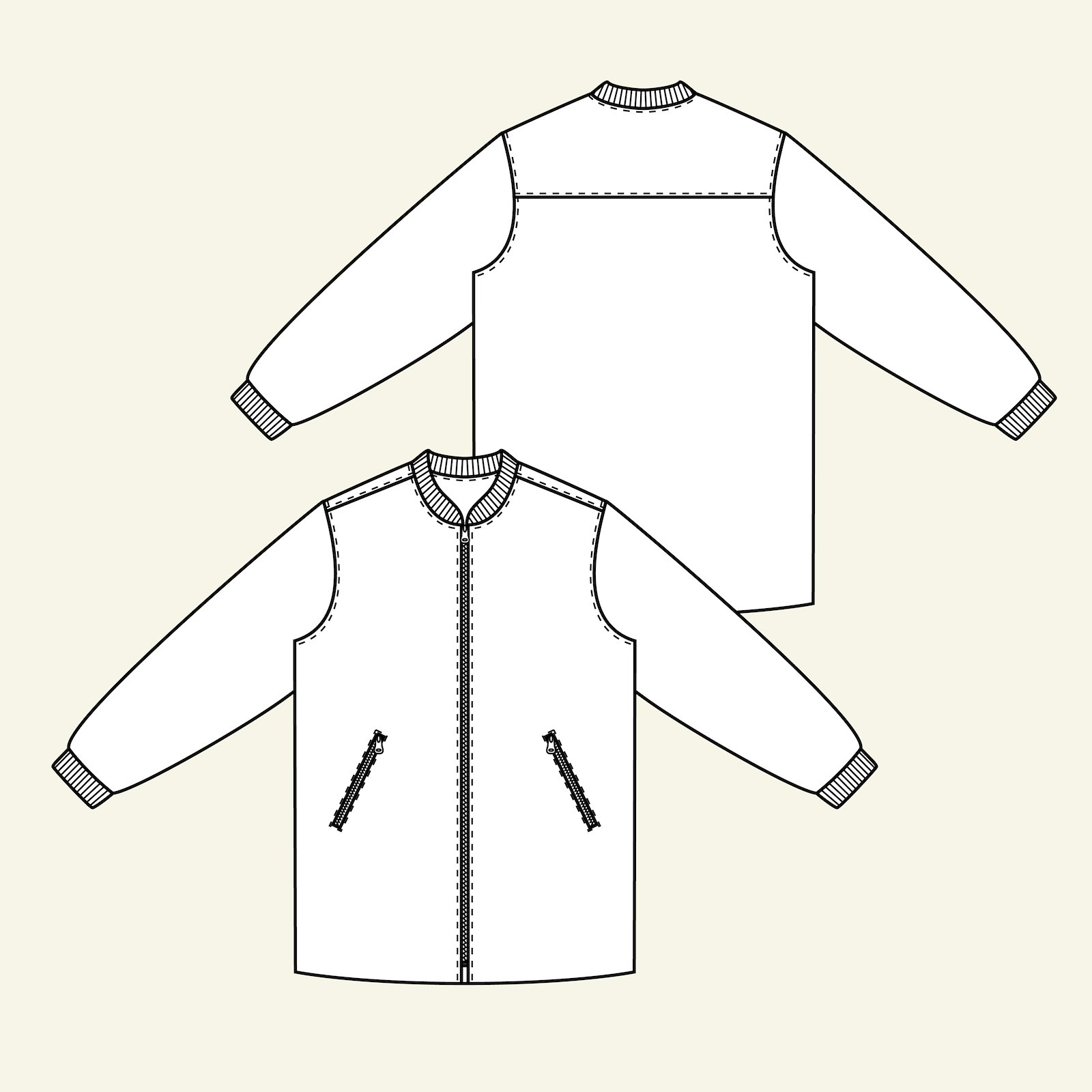 Long jacket with rib and lining, 48 p89001_pack