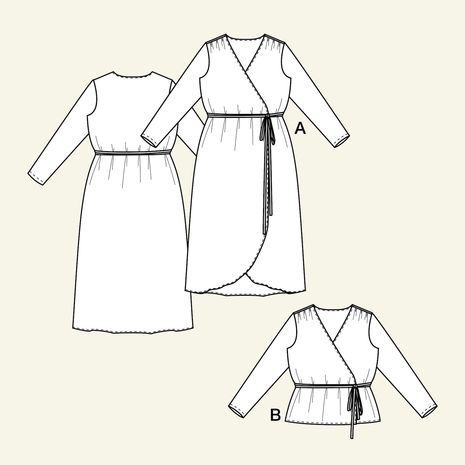 Long wrap around dress and blouse, 46/18 p23152_pack