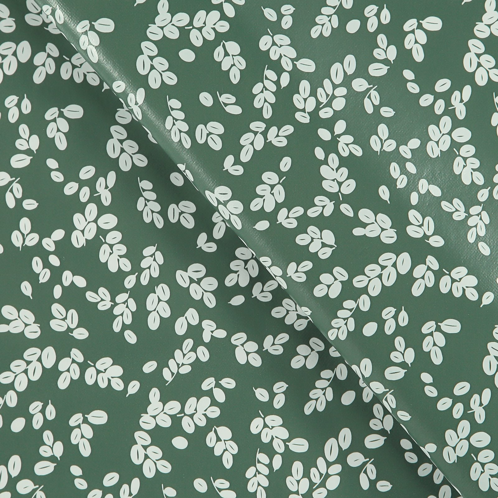 Non-woven oilcloth green w white leaves 866129_pack