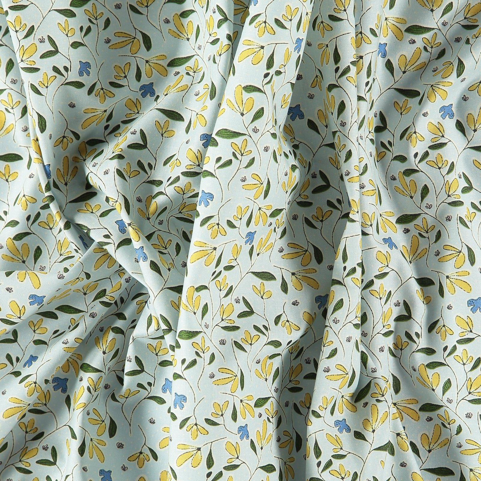 Organic cotton blue w flowers/birds 780523_pack