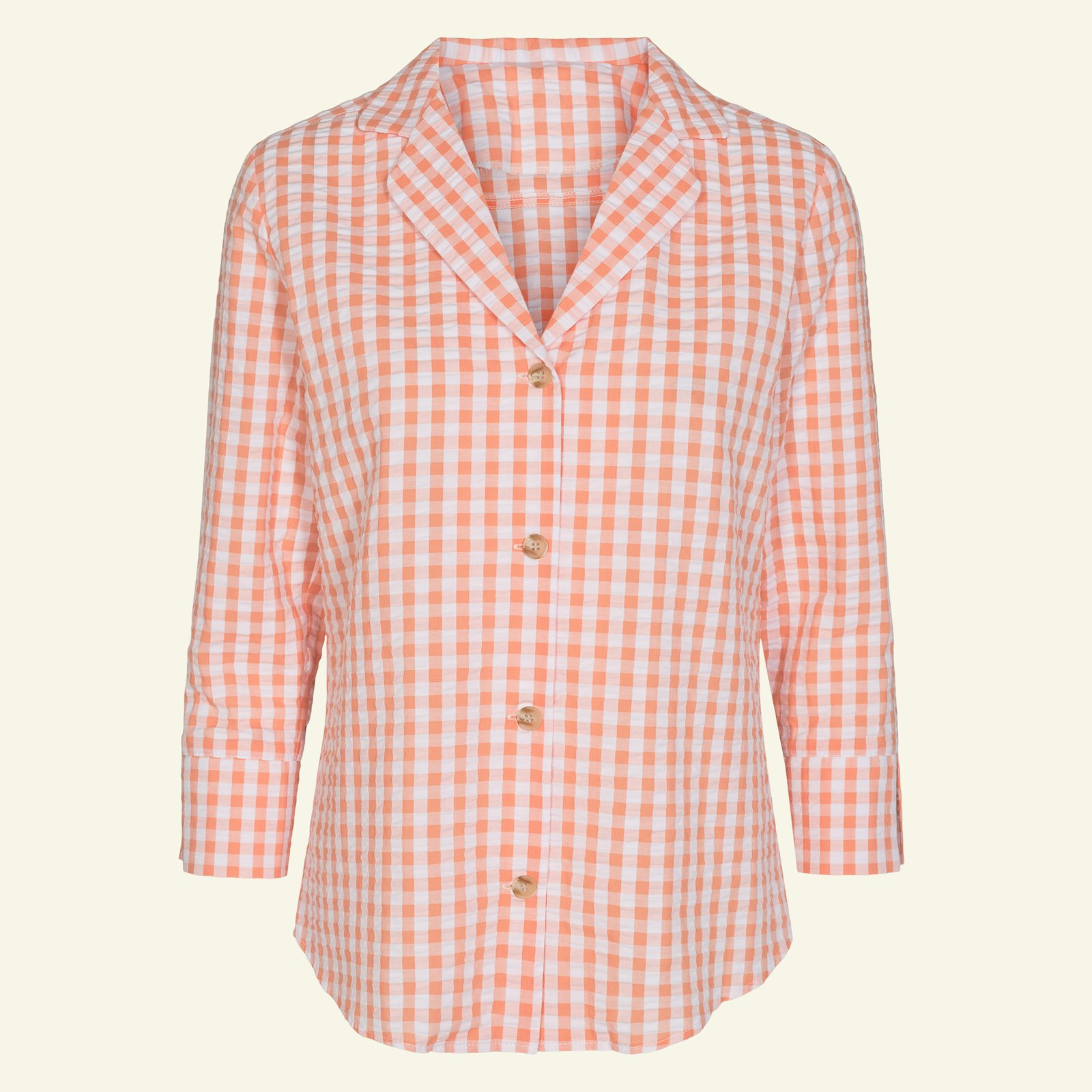 Organic seersucker peach/white check p22058_580047_40231_sskit