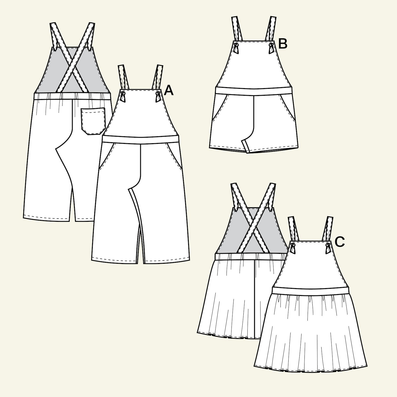 Overalls, shorts, pinafore, 128/8y p60029_pack