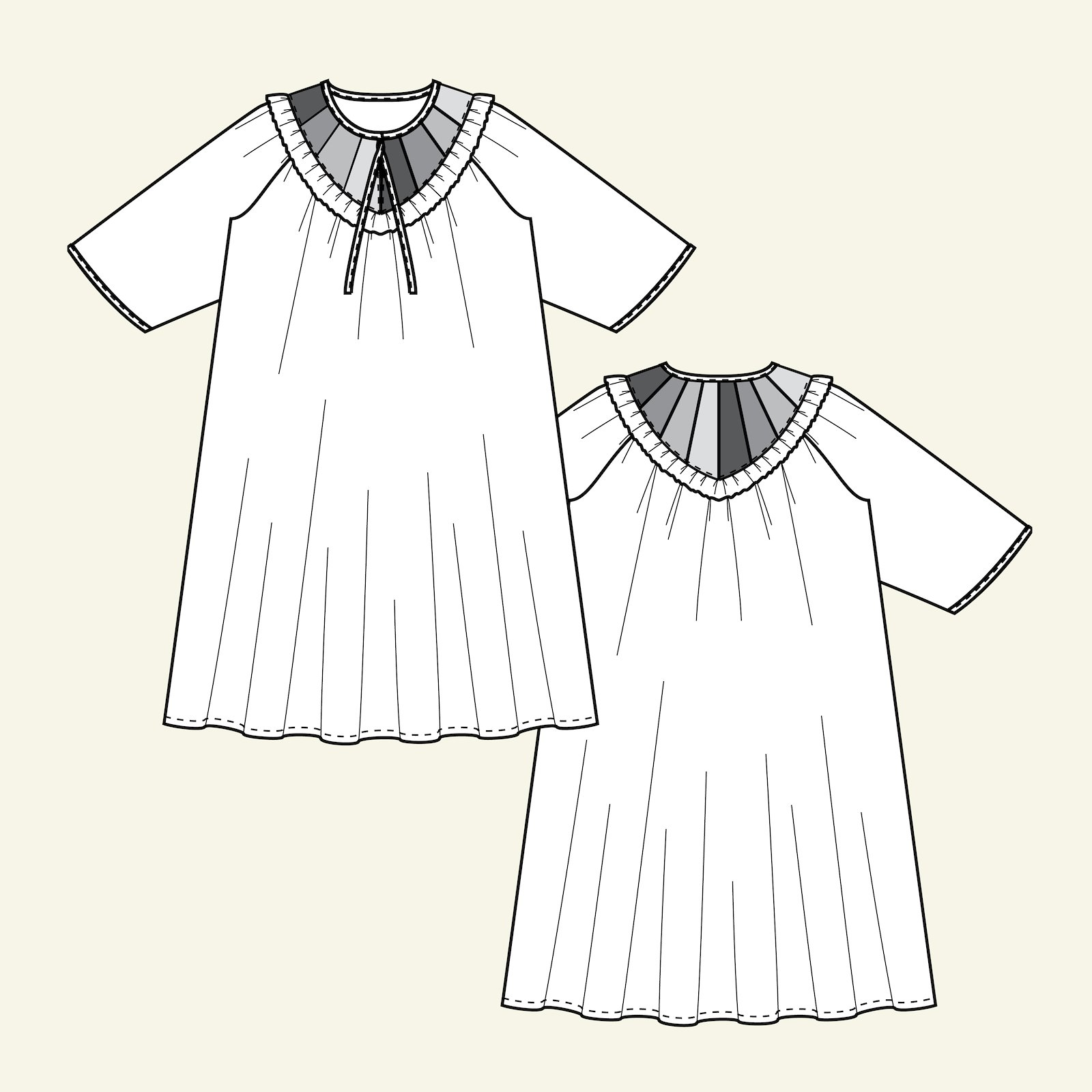Oversize dress with yoke piece p23169_pack