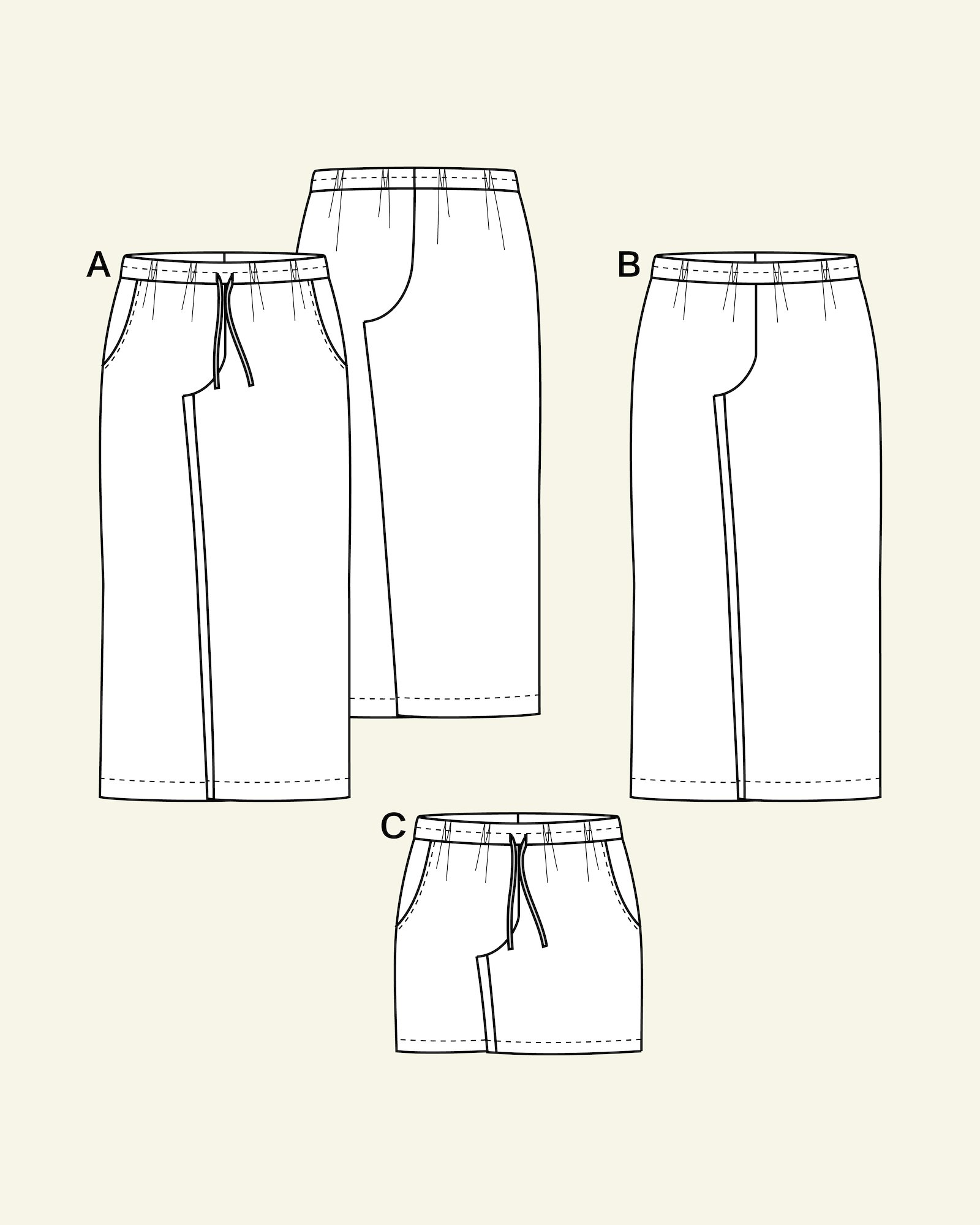 Wide trousers and shorts with pocekts