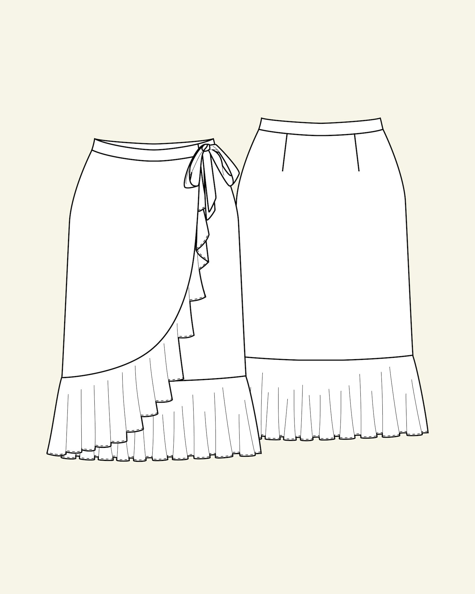 Wrap round skirt with flounce, 32/4