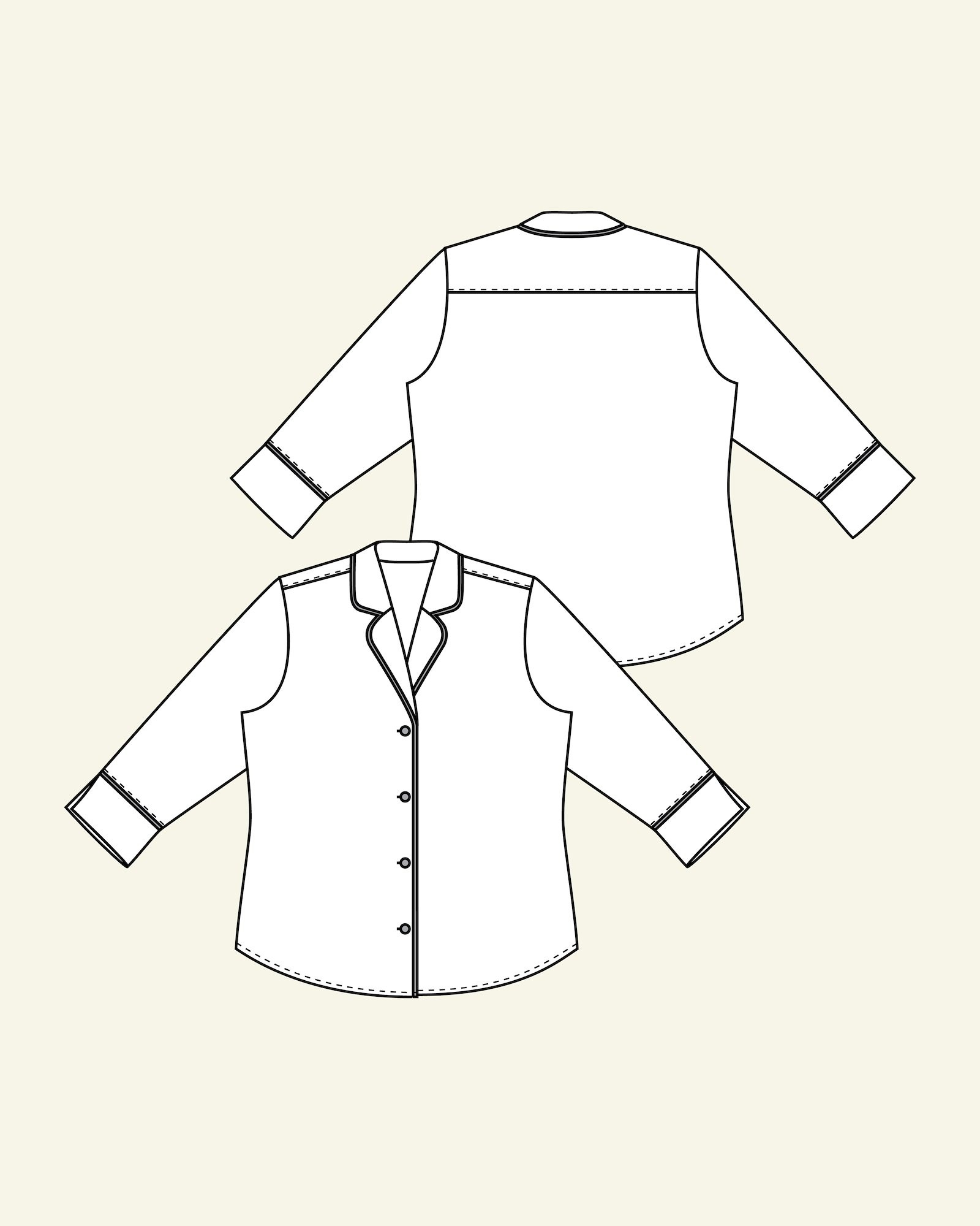 Shirt with ¾ sleeve length