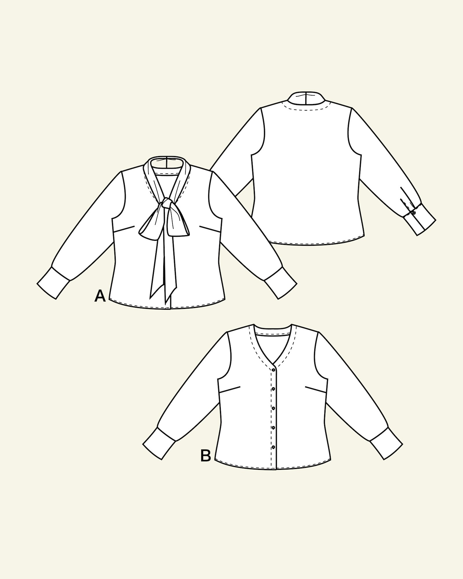 Blouse with a tie band