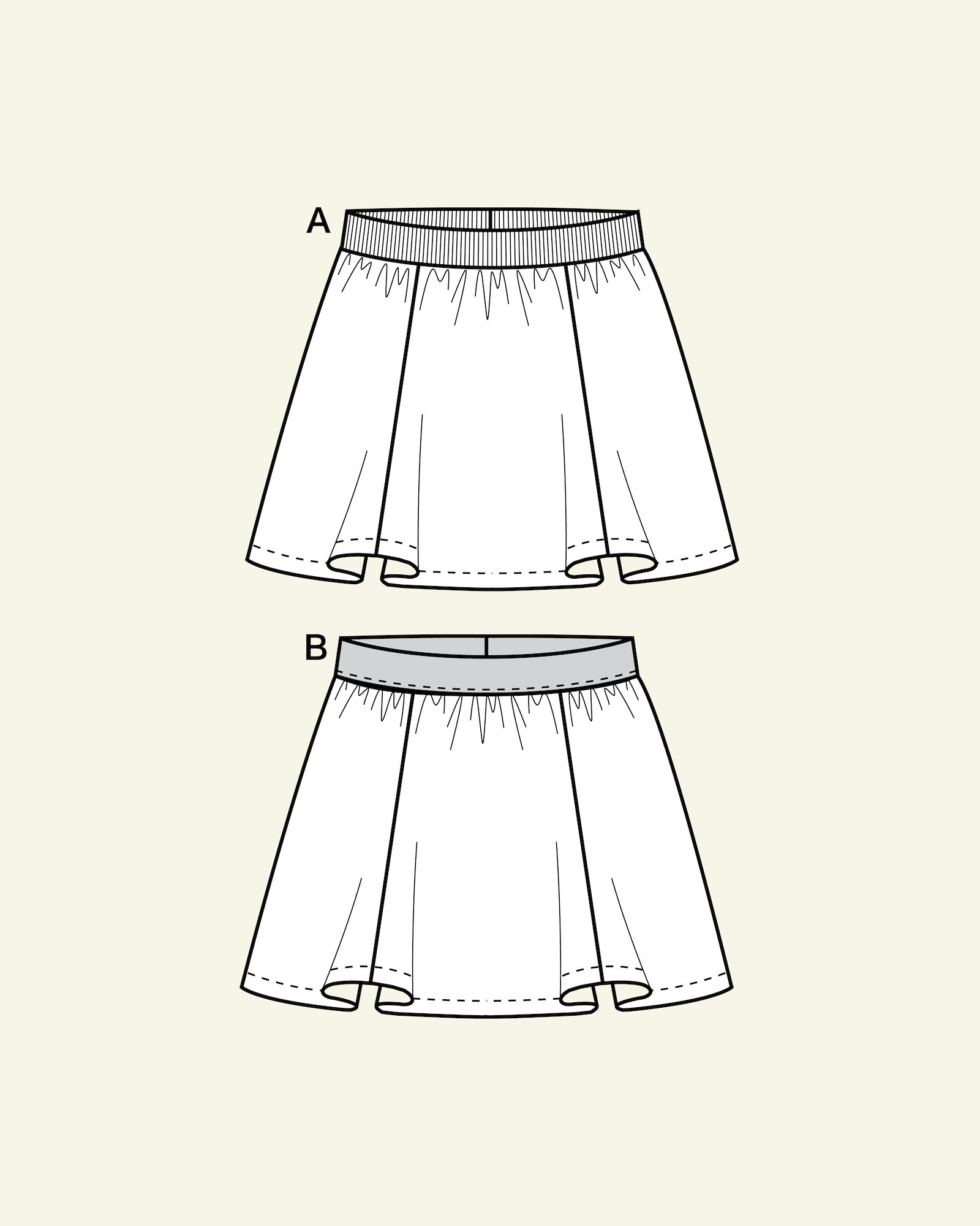 Skirt with cross cutting, 104/4y
