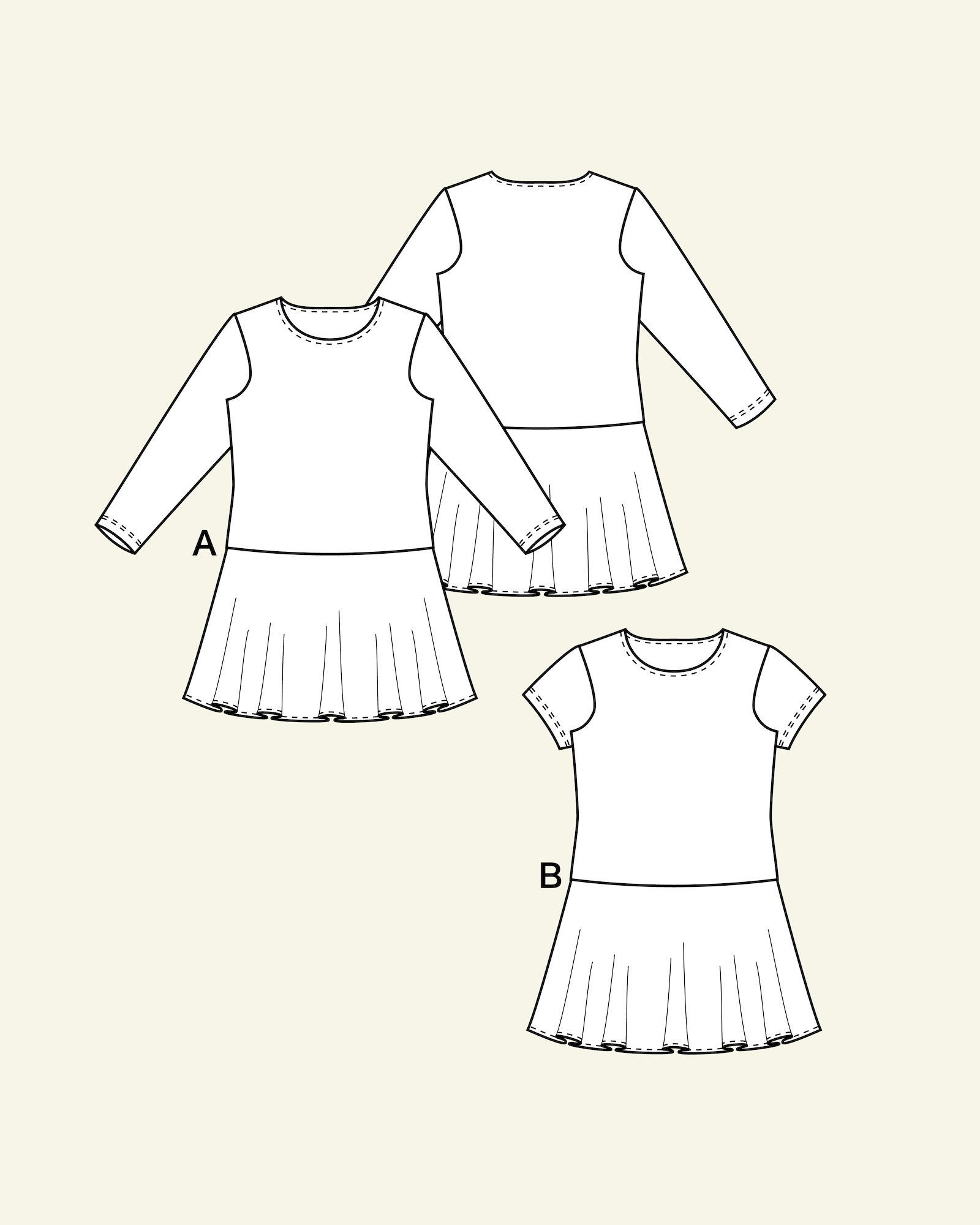 Dress with flared skirt, 104/4y