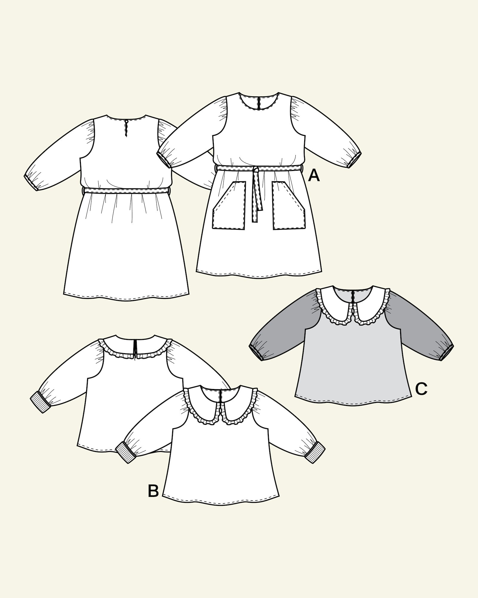 Dress and Blouse with puff sleeves