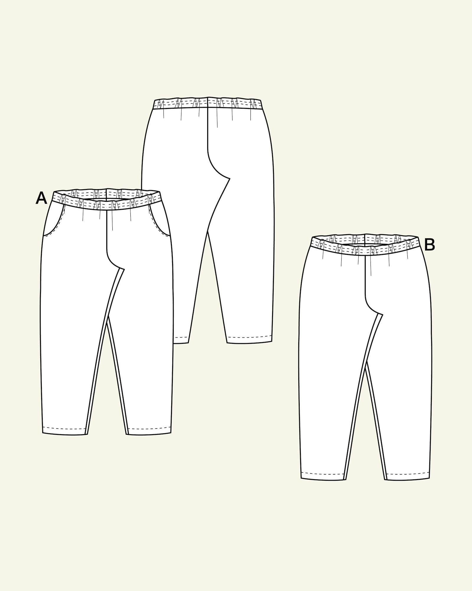 Trousers w.elastic and pockets, 46/18