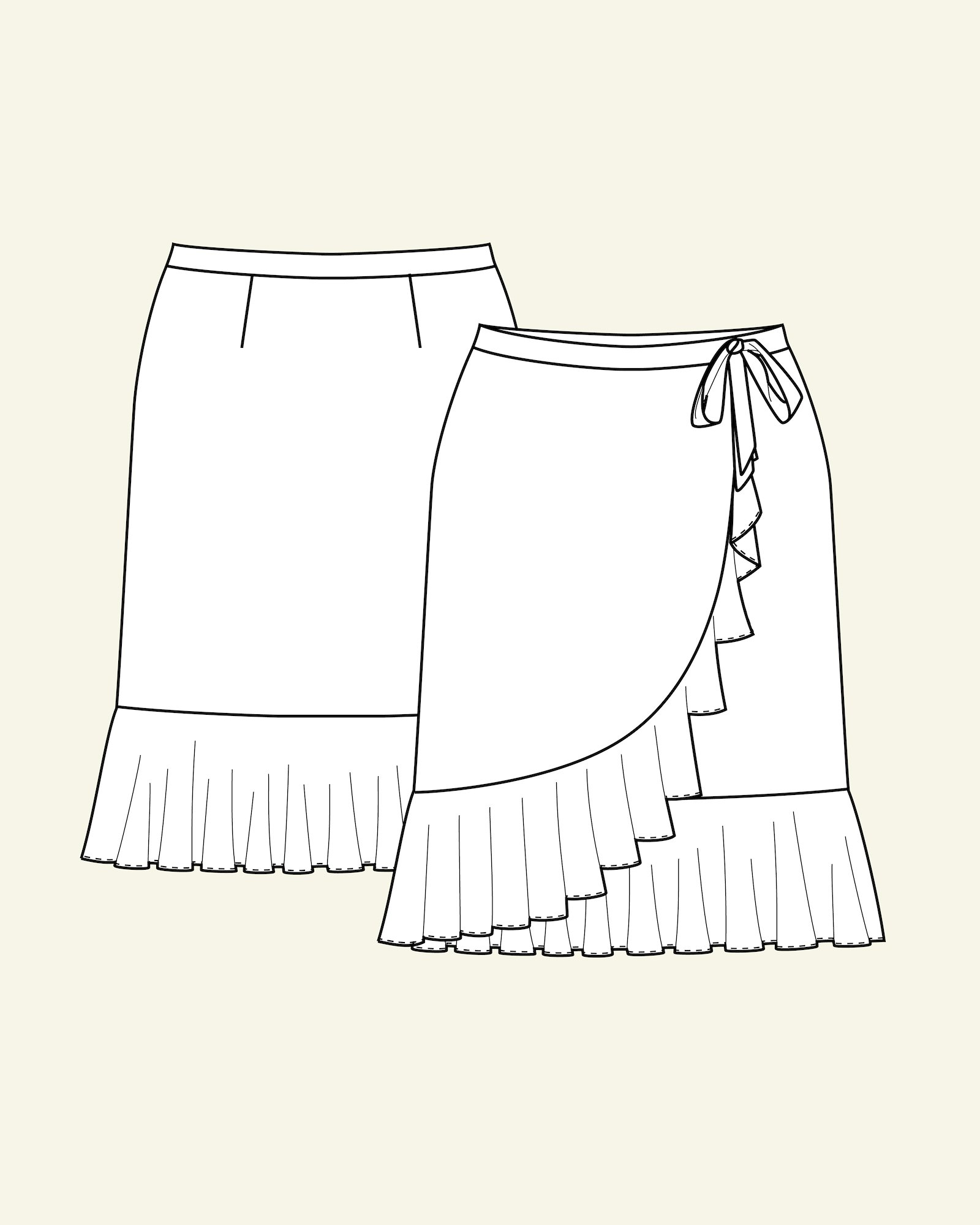 Wrap round skirt with flounce, 46/18