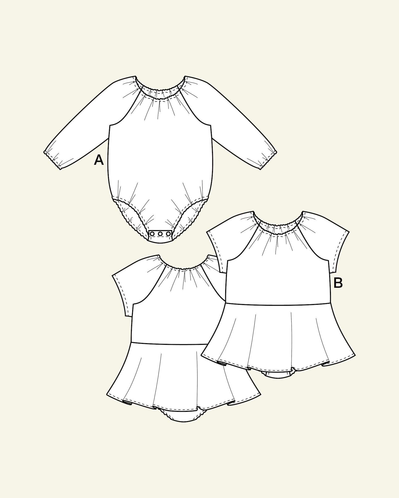 Bodysuit with/without skirt, 56/0m