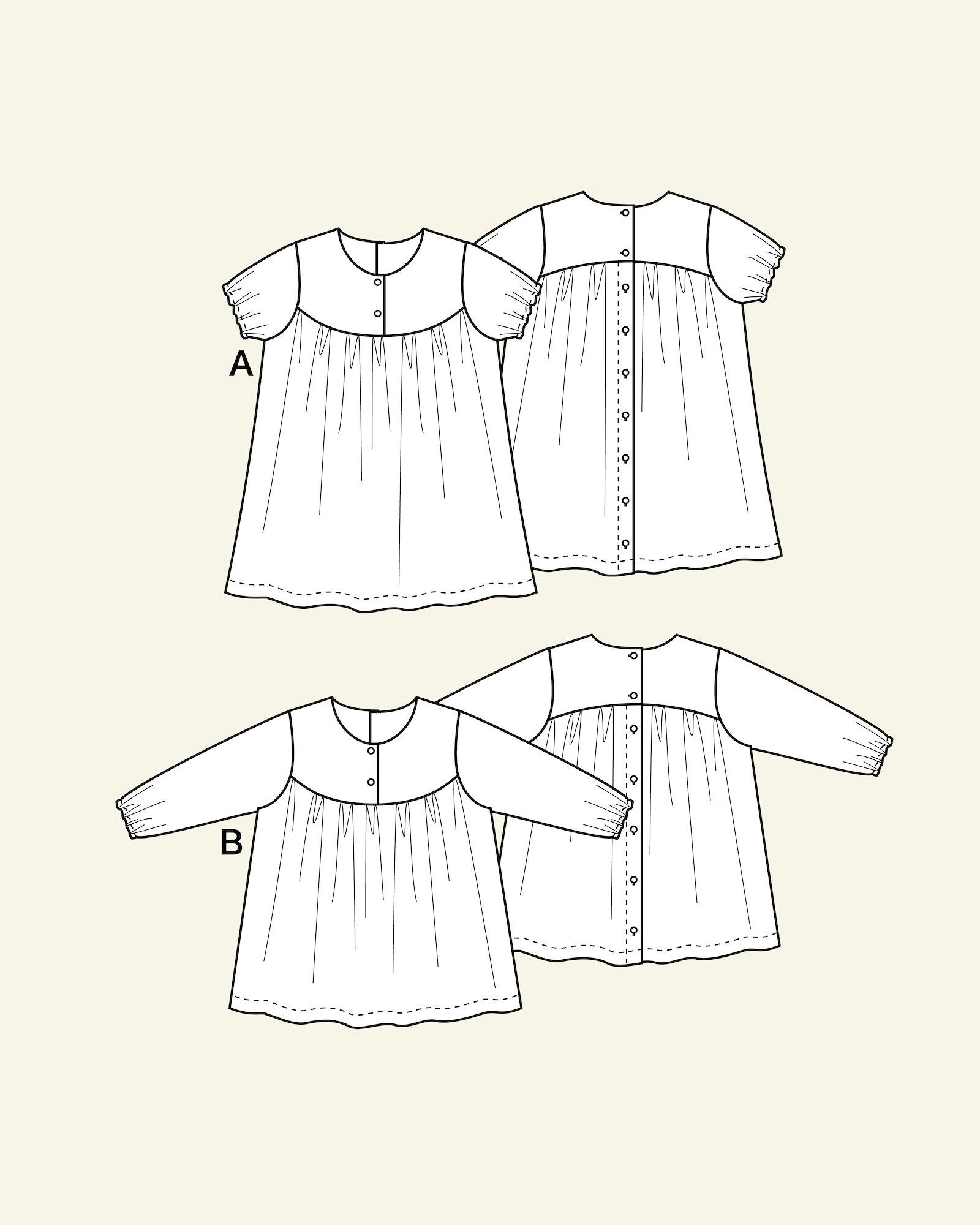 Dress/blouse w. yoke/wrinkles, 104/3y