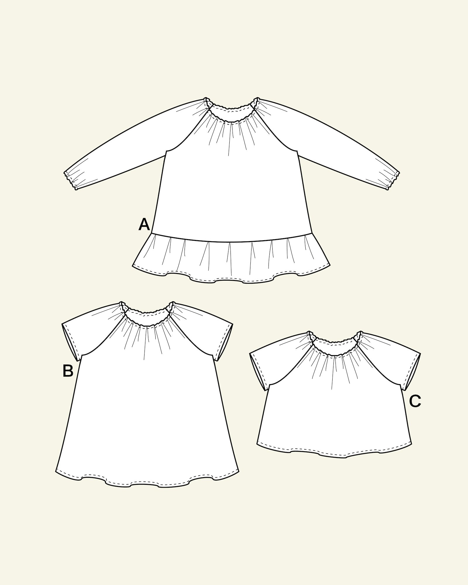 Dress and blouse w. creases, 68/3m
