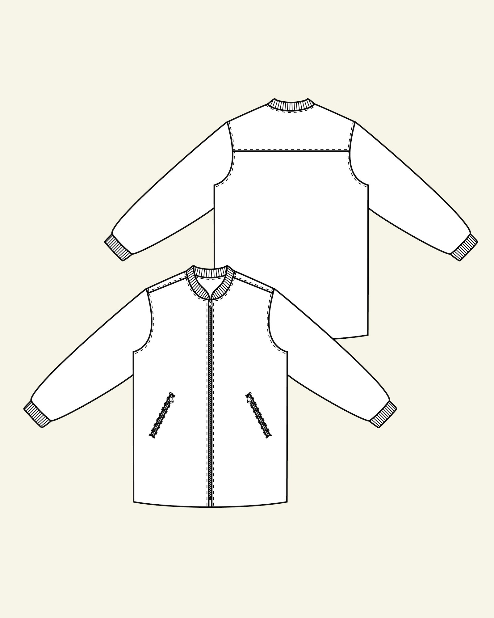 Long jacket with rib and lining, 46