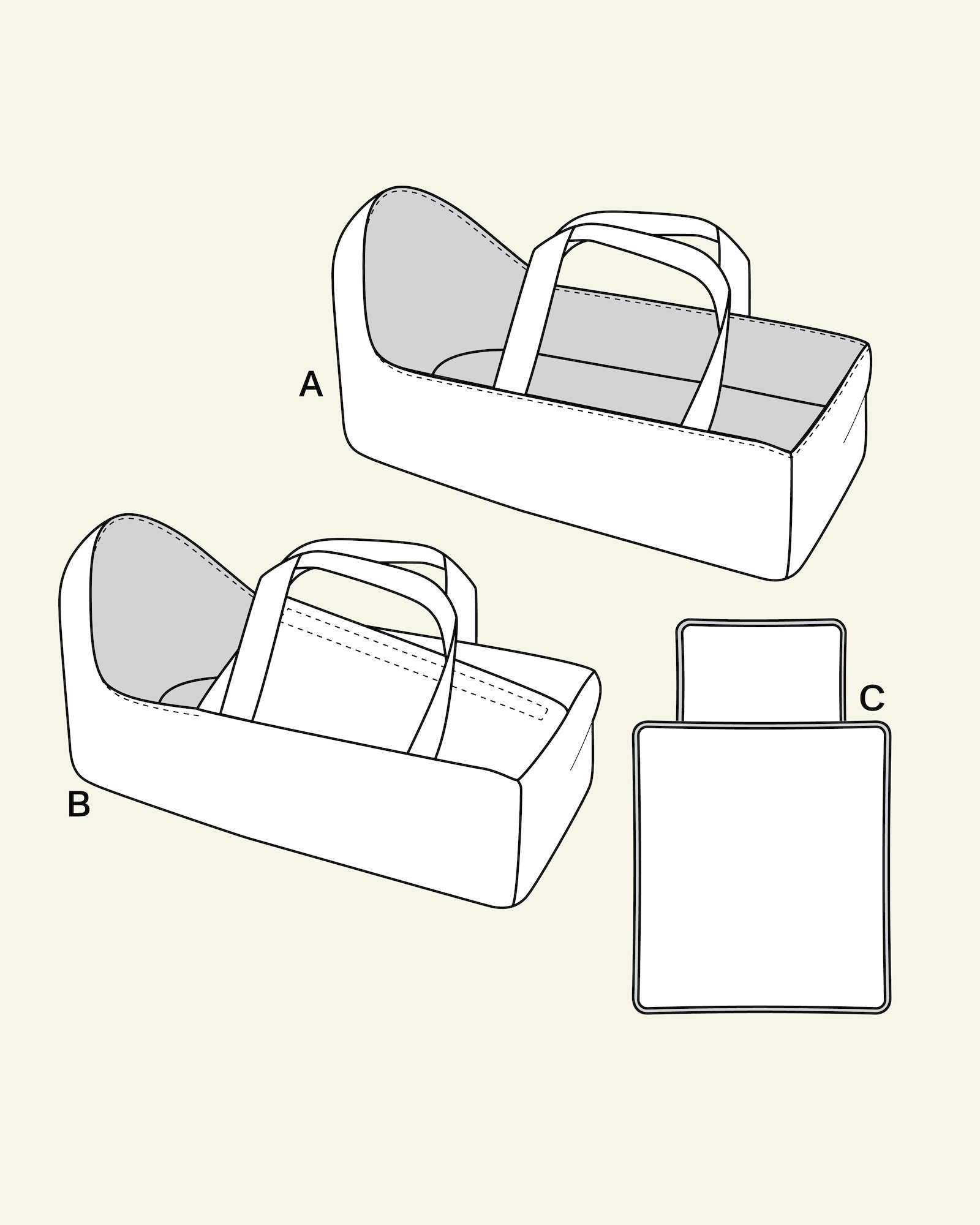 Dolls cradle, duver and pillow
