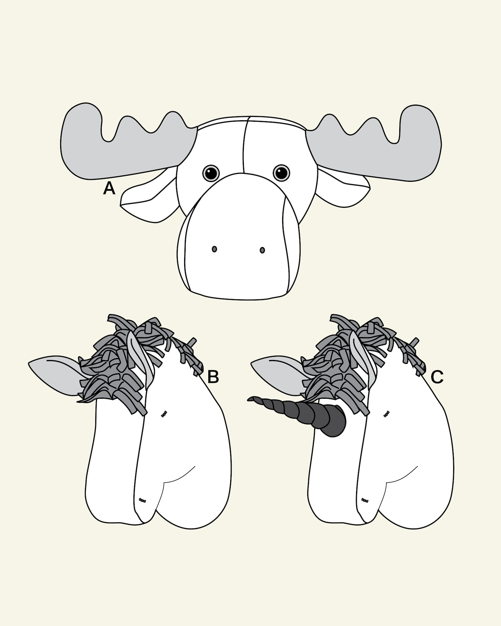 Trophy Moose, Horse and unicon