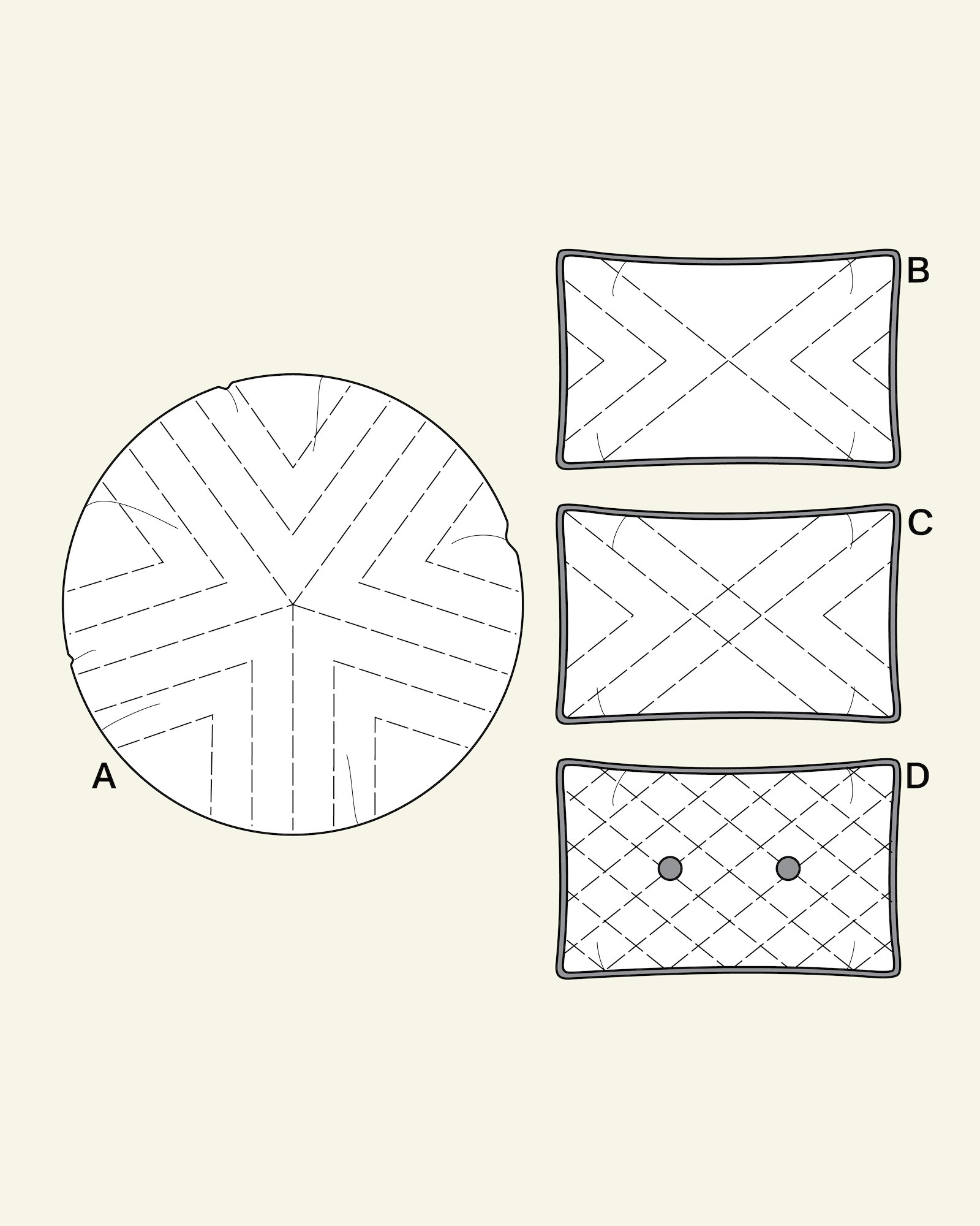 Quilted cover for cushions