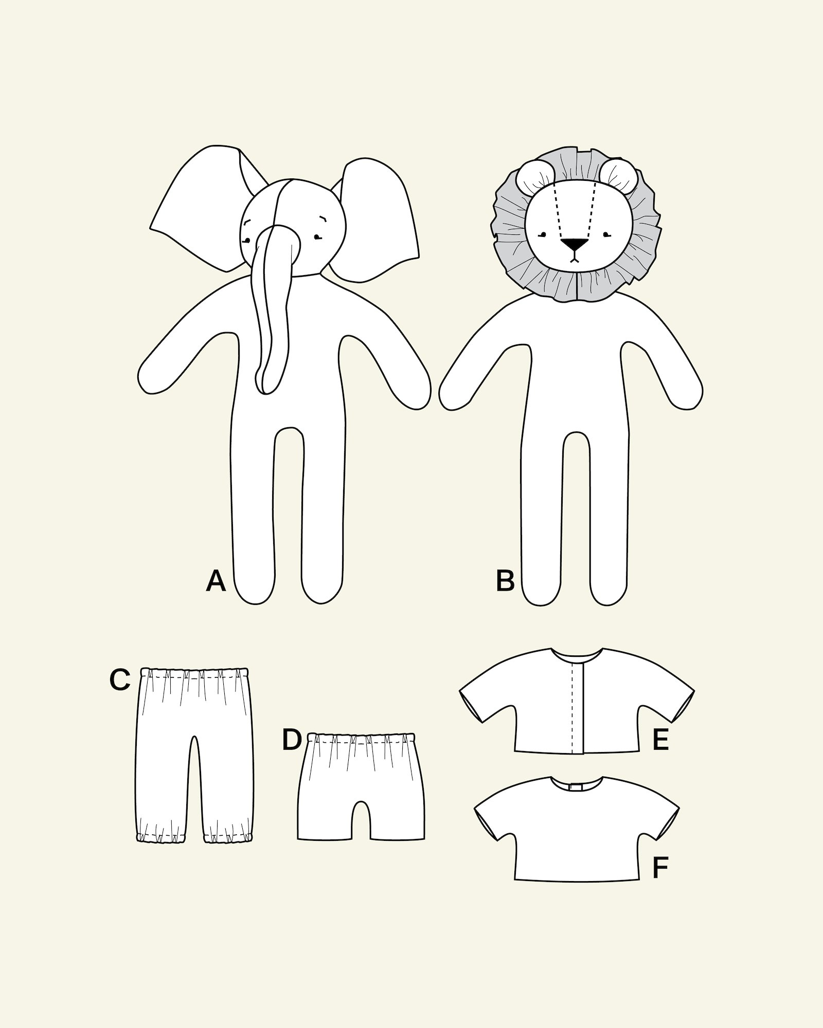 Elephant- and lion doll with clothes