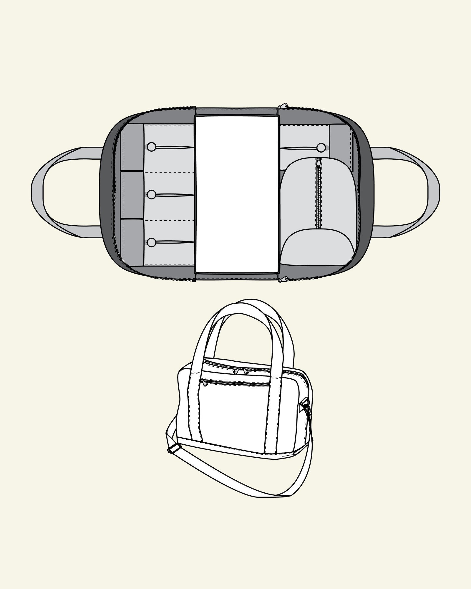 Changing bag with zipper