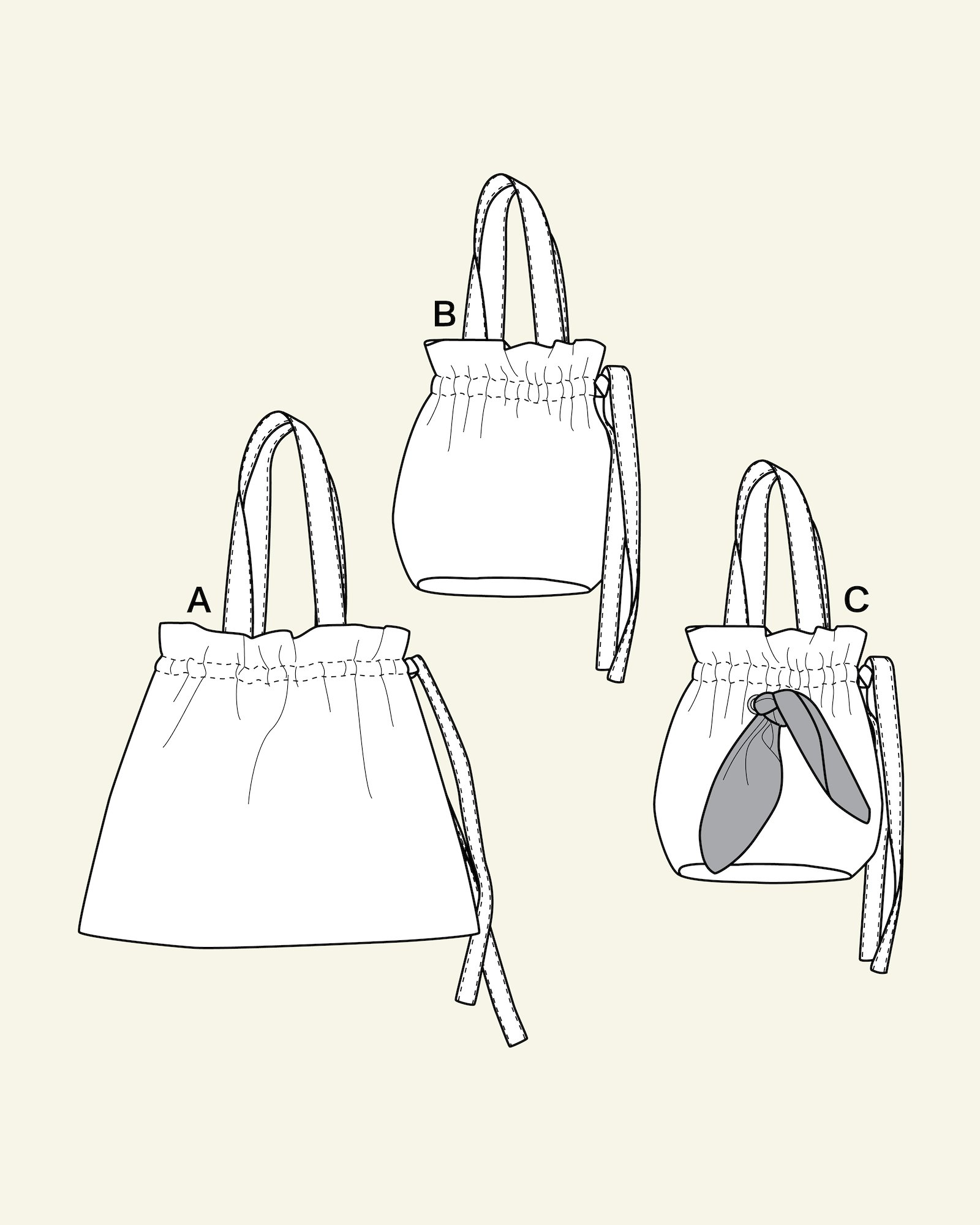 Bags with tie ribbon