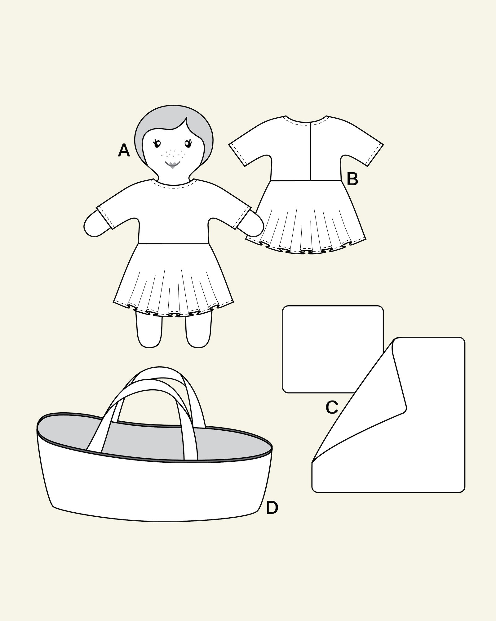 Mini doll with clothes and carrycot
